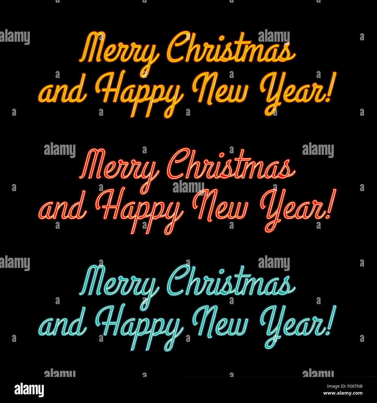 Merry christmas and a happy new year yellow red blue glowing neon merry christmas and a happy new year yellow red blue glowing neon signs for greeting card banner poster brochure illustration m4hsunfo