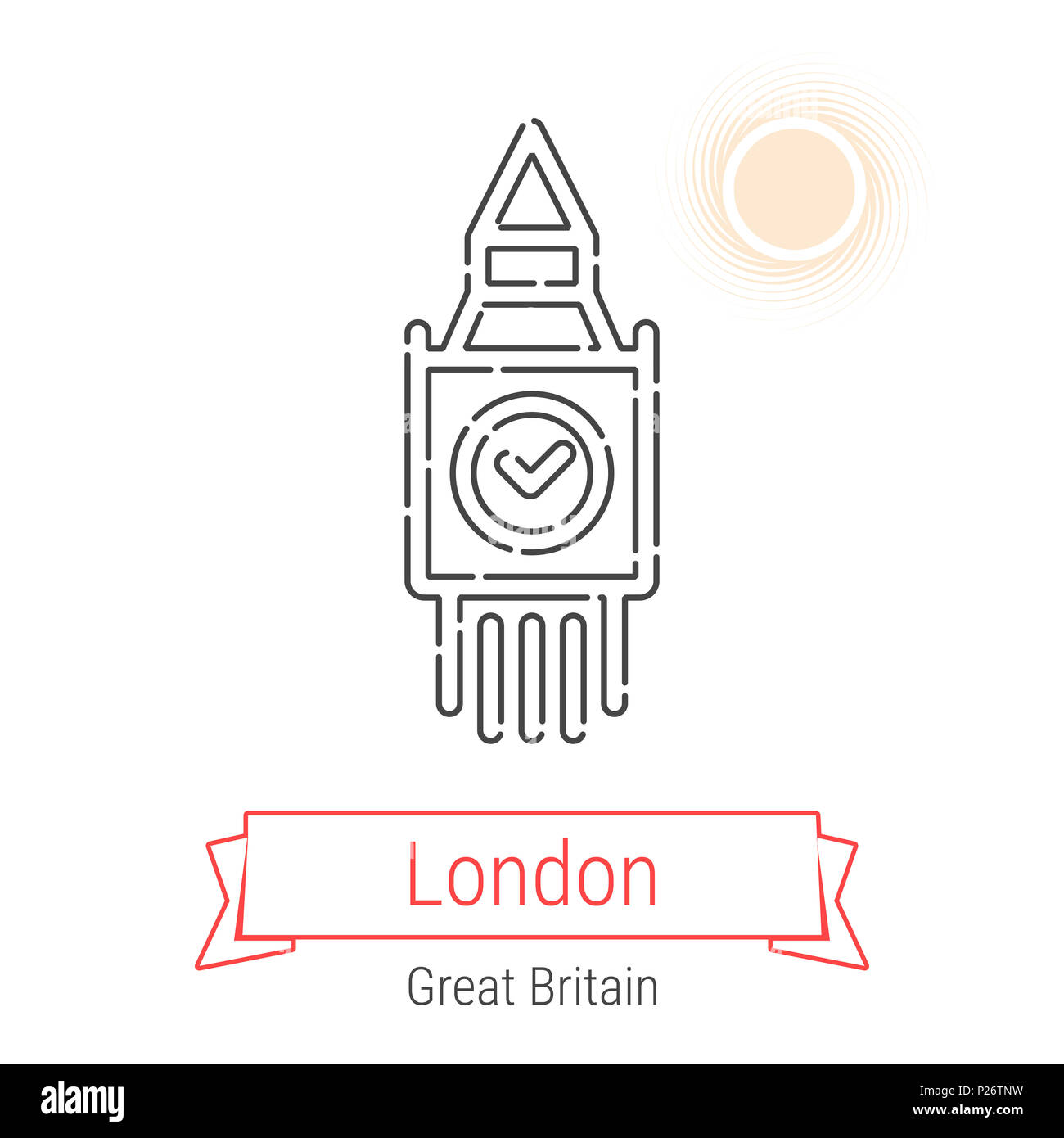 London, Great Britain Line Icon with Red Ribbon Isolated on White. London Landmark - Emblem - Print - Label - Symbol. Big Ben Tower Pictogram. World C - Stock Image