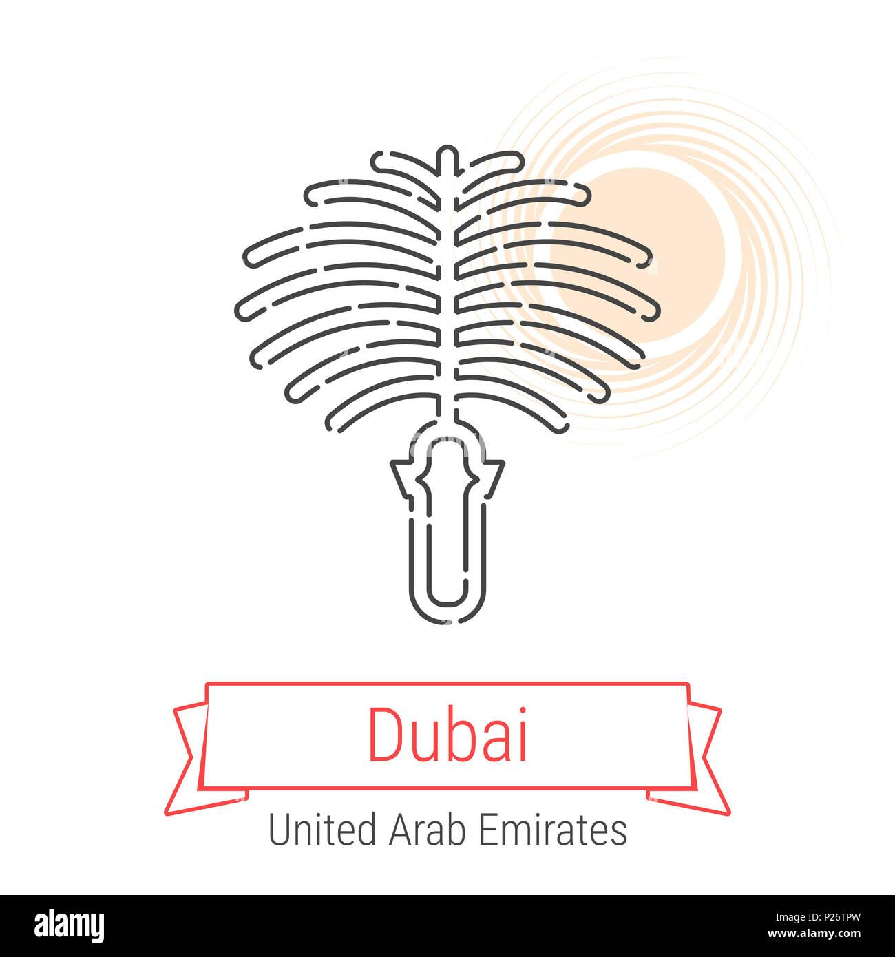 Dubai, United Arab Emirates Line Icon with Red Ribbon Isolated on White. Dubai Landmark - Emblem - Print - Label - Symbol. Palm Islands Pictogram. Wor - Stock Image