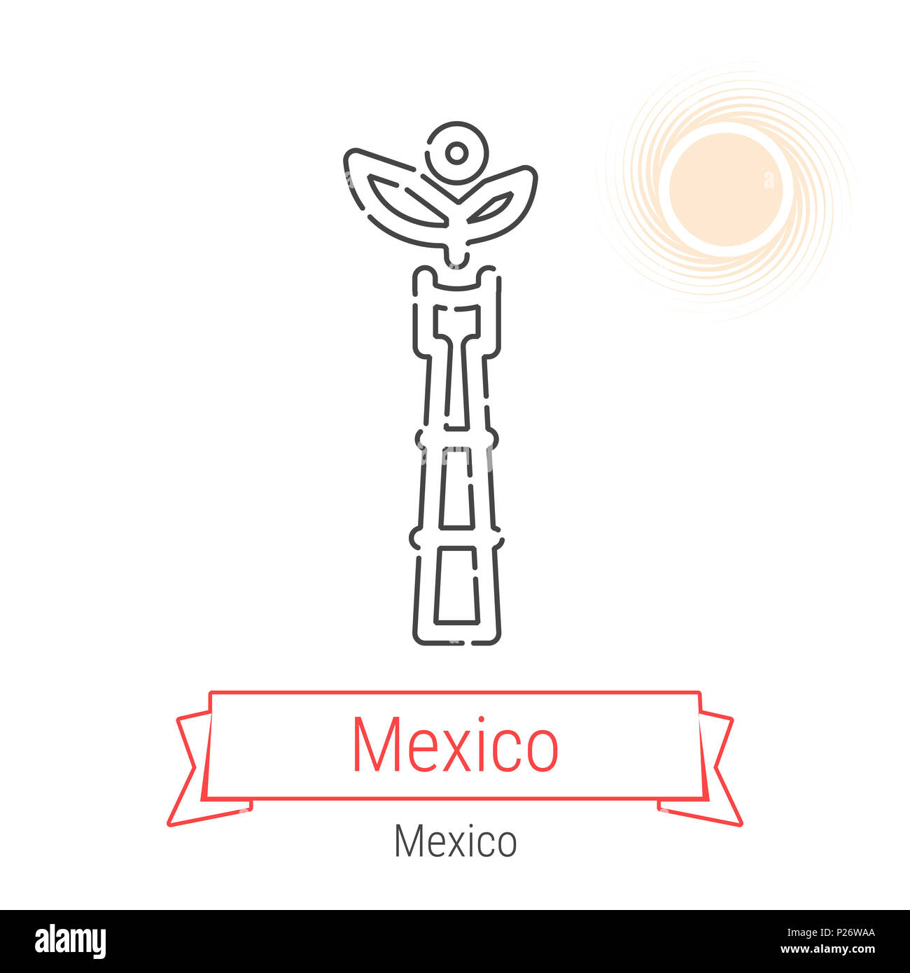 Mexico City Mexico Line Icon With Red Ribbon Isolated On White