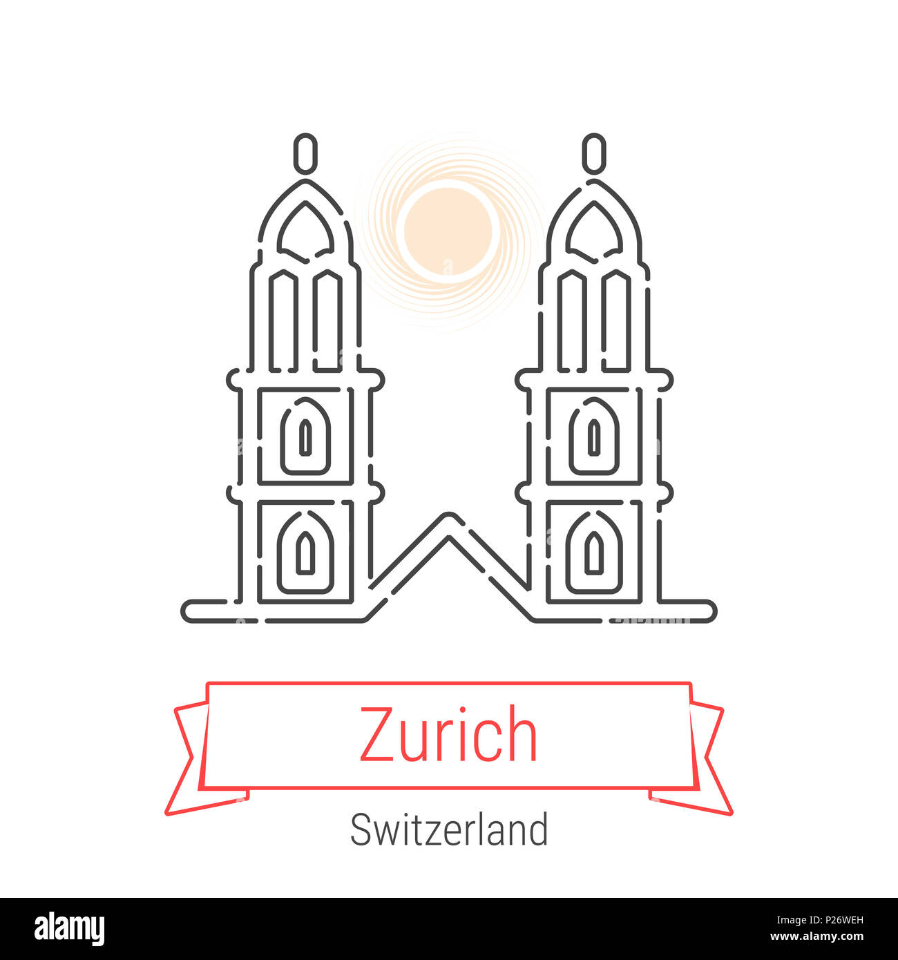 Zurich, Switzerland Line Icon with Red Ribbon Isolated on White. Zurich Landmark - Emblem - Print - Label - Symbol. Great Minster Church Pictogram. Wo - Stock Image