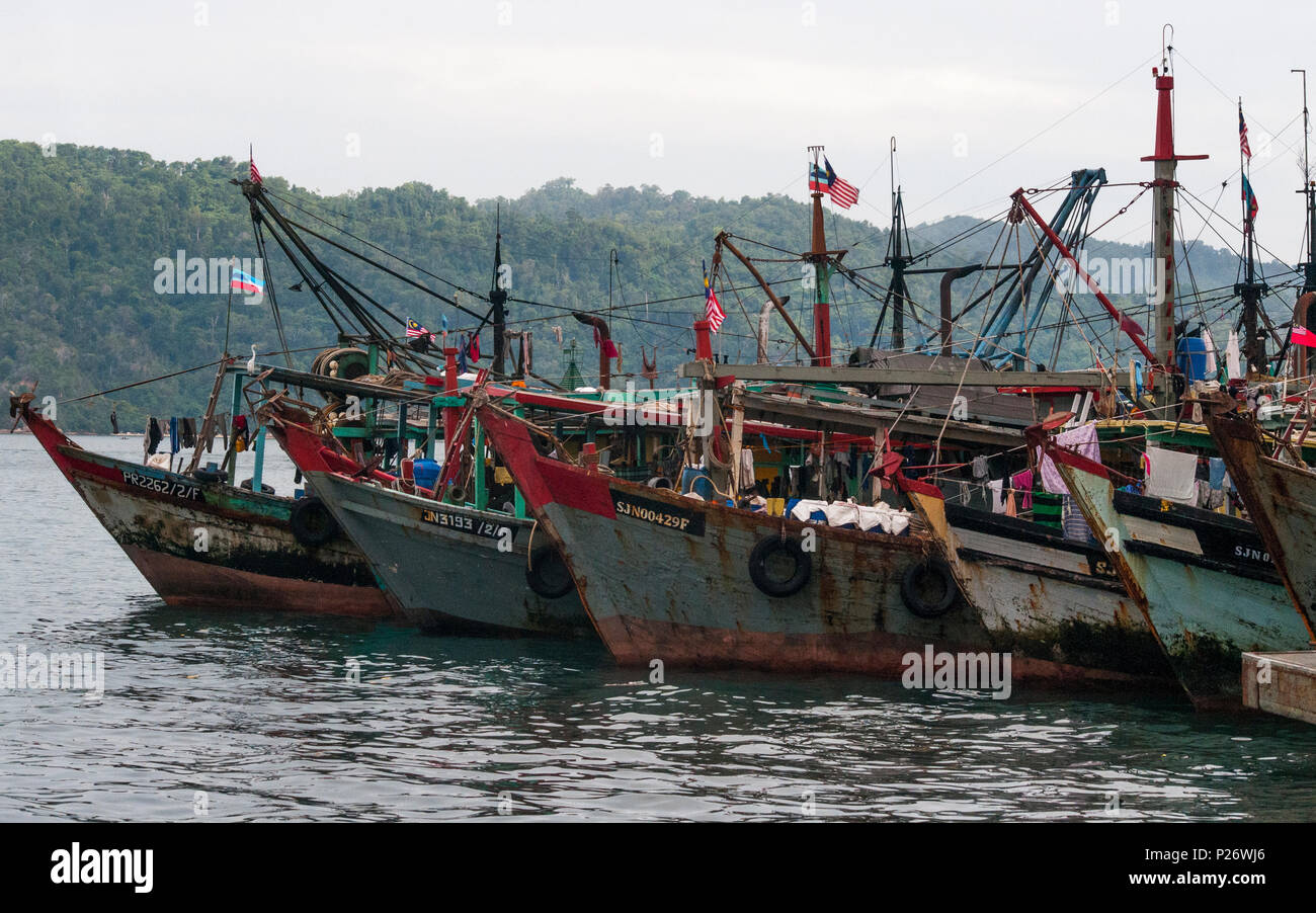 Fishing vessels anchored in the harbour at Kota Kinabalu, Sabah, Malaysian Borneo - Stock Image