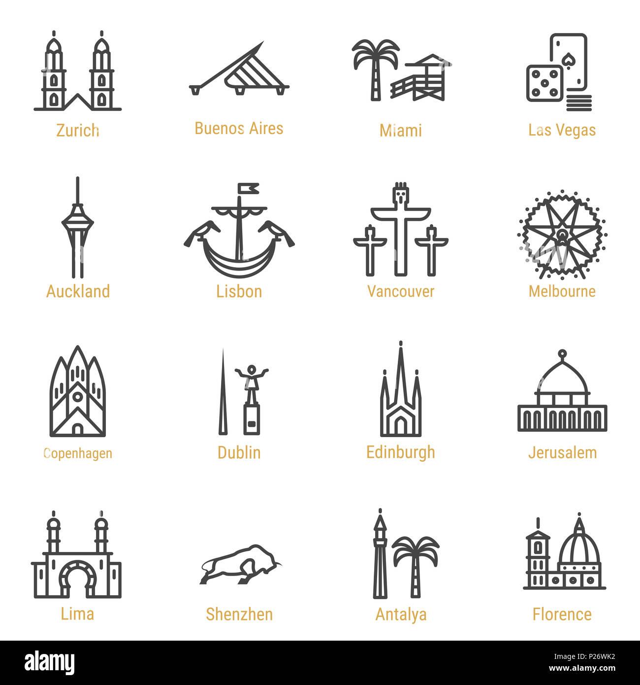 Zurich - Buenos Aires - Miami - Las Vegas - Auckland - Lisbon - Vancouver - Melbourne - Copenhagen - Dublin - Edinburgh - Jerusalem - Lima - Shenzhen  - Stock Image