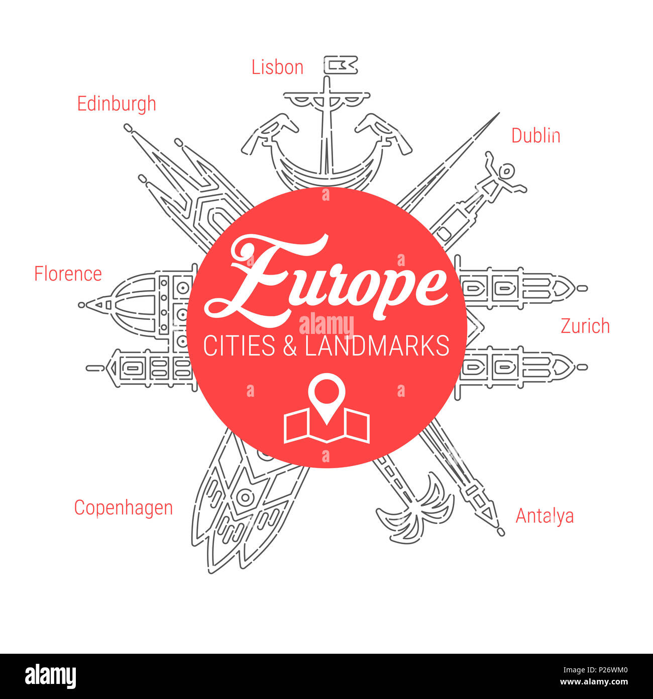 Famous European Cities - Landmarks - Places of Interest - Attractions - Sights - Lions. Line Icon Set. Travel and Tourism Background. - Stock Image