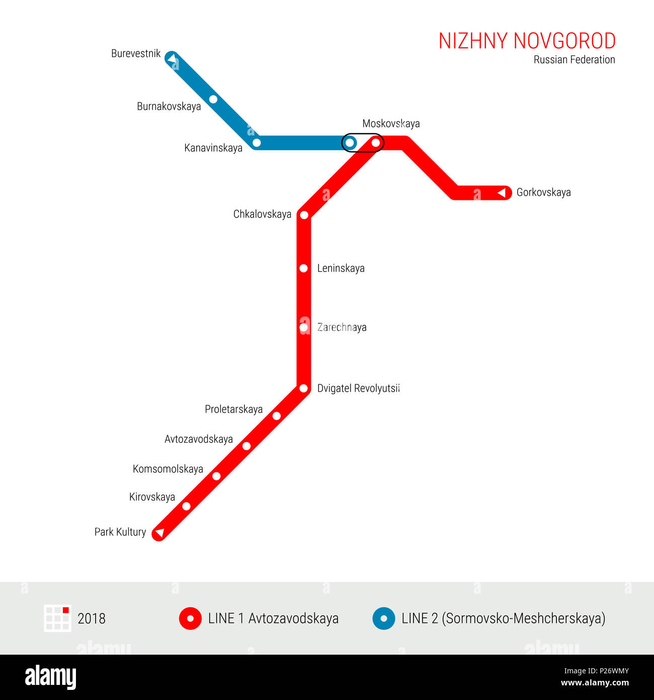 Nizhny Novgorod Russian Federation Metro Map Rapid Transit System
