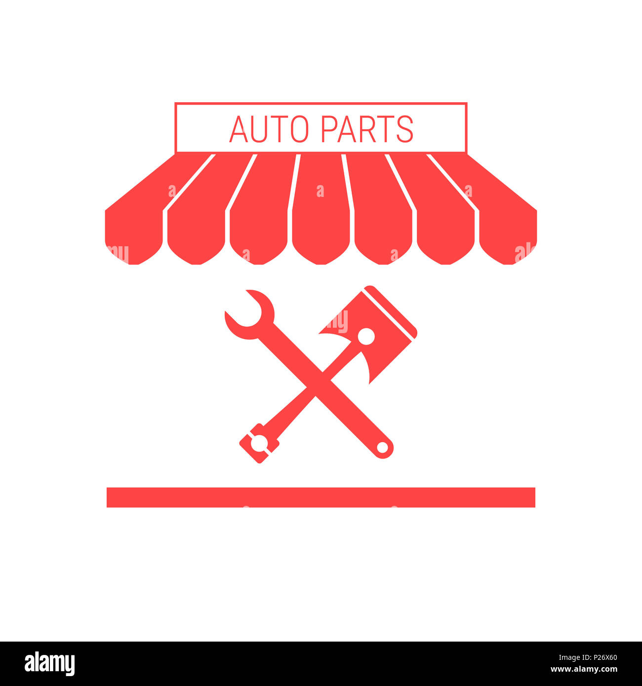 Auto Parts Shop Car Repair Single Flat Icon Striped Awning And Diagrams Signboard A Series Of Icons