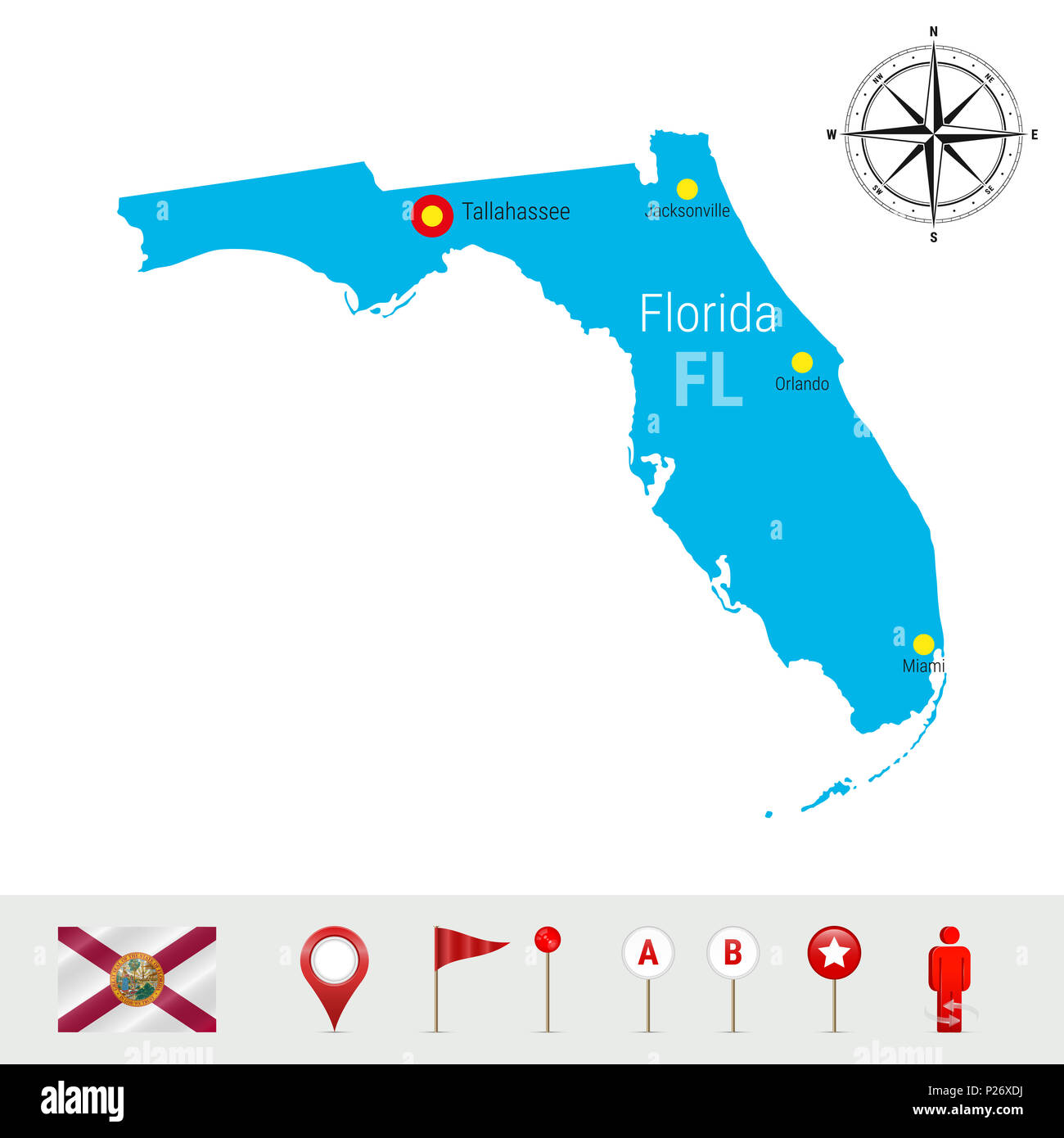 State Of Florida Map Stock Photos State Of Florida Map Stock