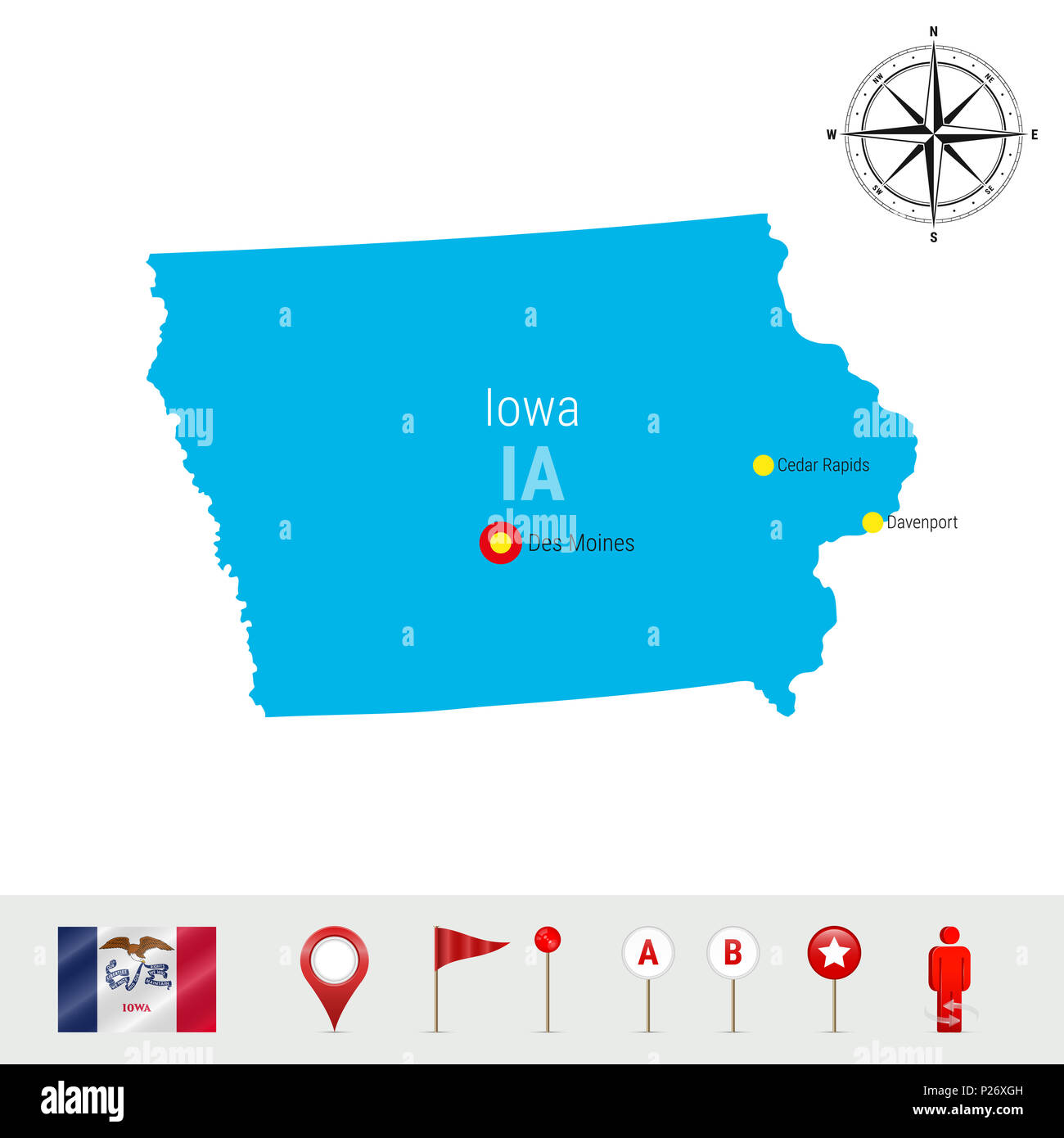 Iowa Map Isolated on White Background. High Detailed Silhouette of ...