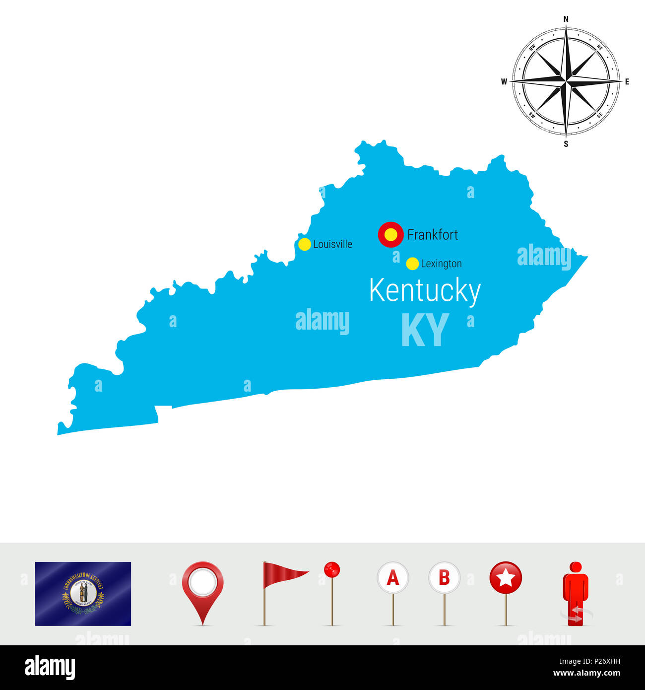 Kentucky Map Isolated on White Background. High Detailed Silhouette ...