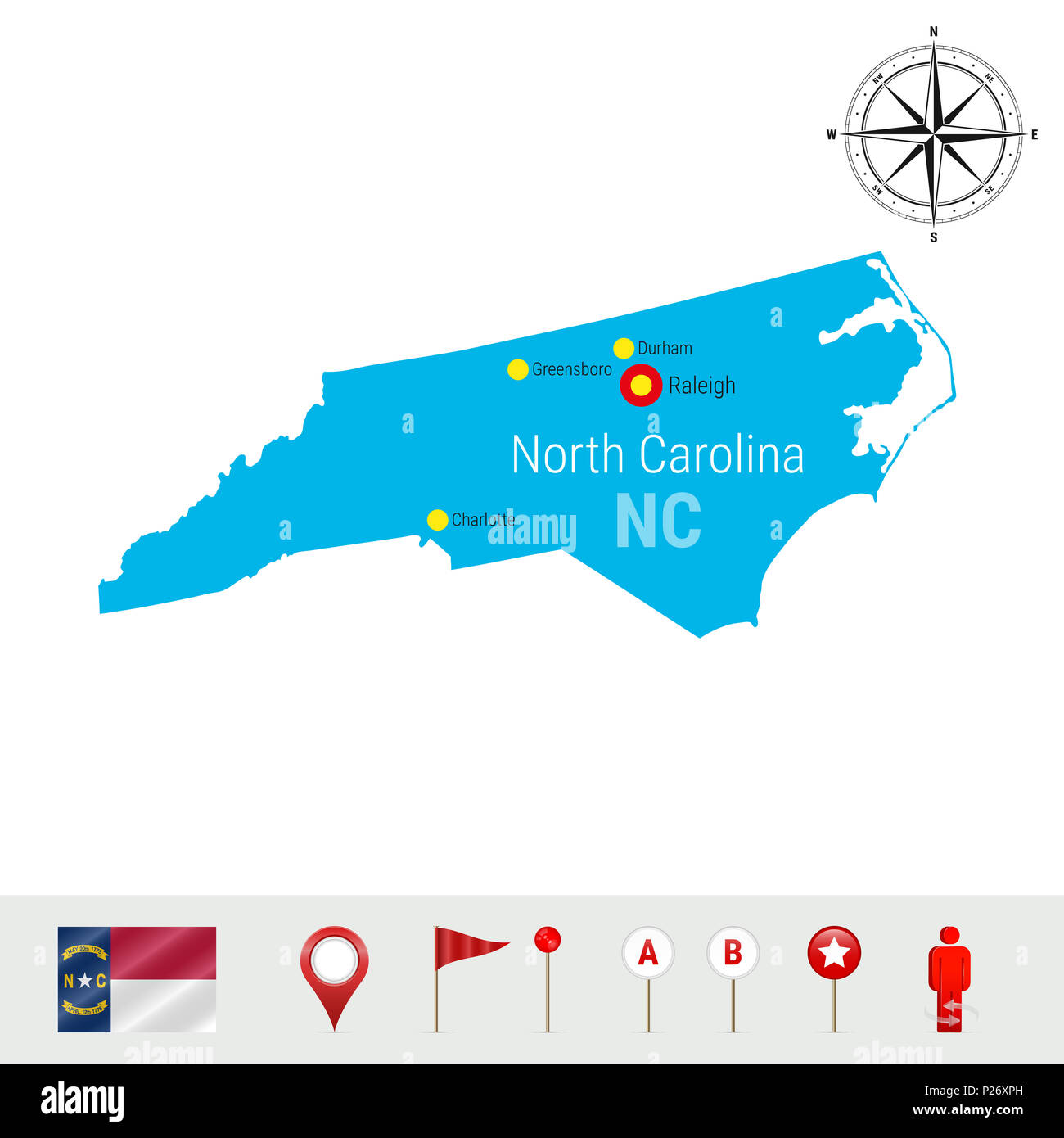 North Carolina Map Isolated on White. Detailed Silhouette of North ...
