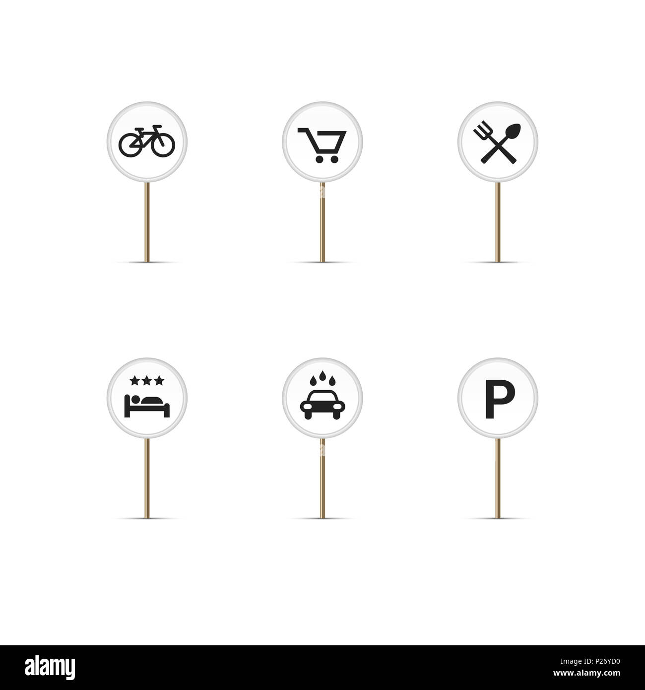 White Round Map Pins with Simple Icons. Bike Path, Cart ... on