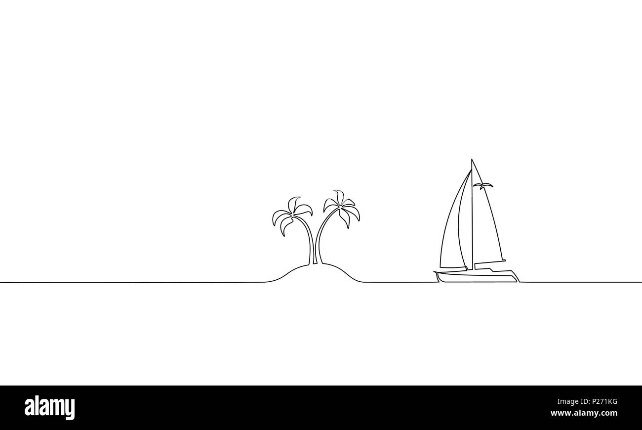 Single continuous one line art ocean travel vacation. Sea voyage holiday tropical island ship yacht luxury island palm tree journey concept design sketch outline drawing vector illustration - Stock Vector