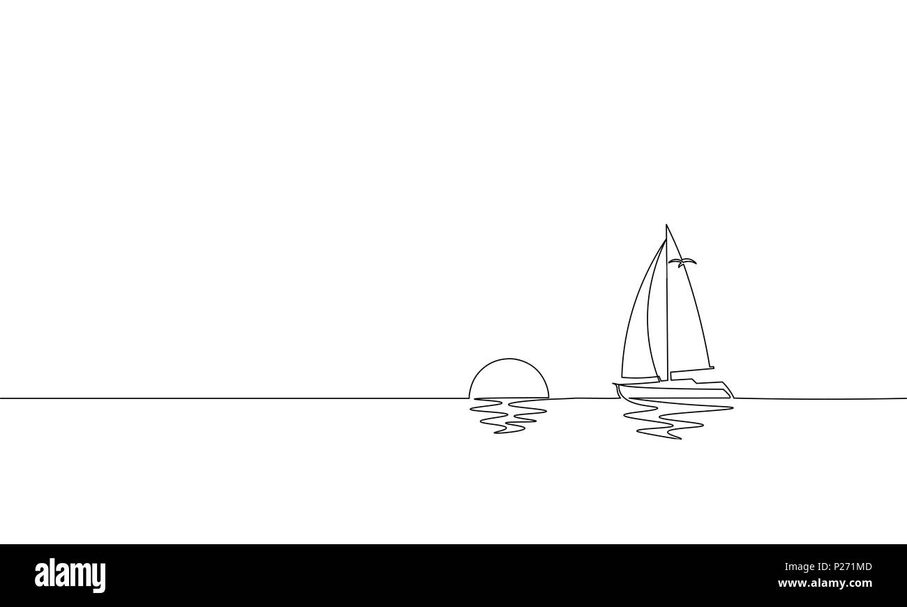 Single continuous one line art sunny ocean travel vacation. Sea voyage sunrise holiday tropical island ship yacht luxury journey sunset concept design sketch outline drawing vector illustration - Stock Vector