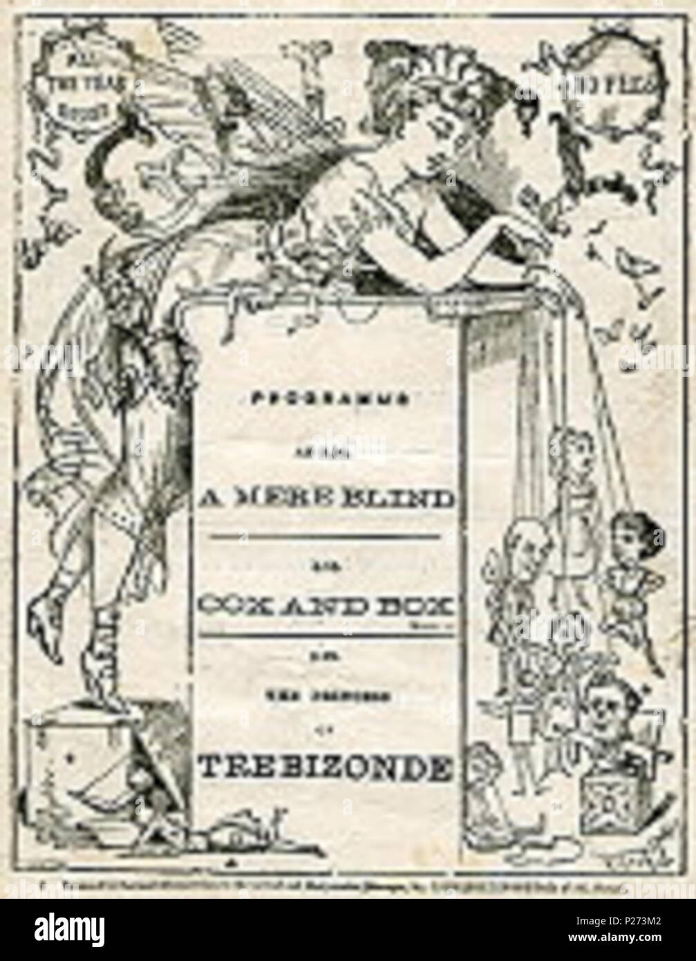 . English: Theatre programme cover for an 1874 production of Cox and Box. This production appeared at the Gaiety Theatre during the week of 7 September 1874. The composer's brother, Fred Sullivan, played Cox, with Arthur Cecil as Box and J. G. Taylor as Bouncer. The evening commenced with Jacques Offenbach's A Mere Blind and ended with the 2nd and 3rd acts of the same composer's The Princess of Trebizonde. 7 September 1874. Unknown assumed to have died within 70 years of creating the work 70 CoxBox1874 - Stock Image