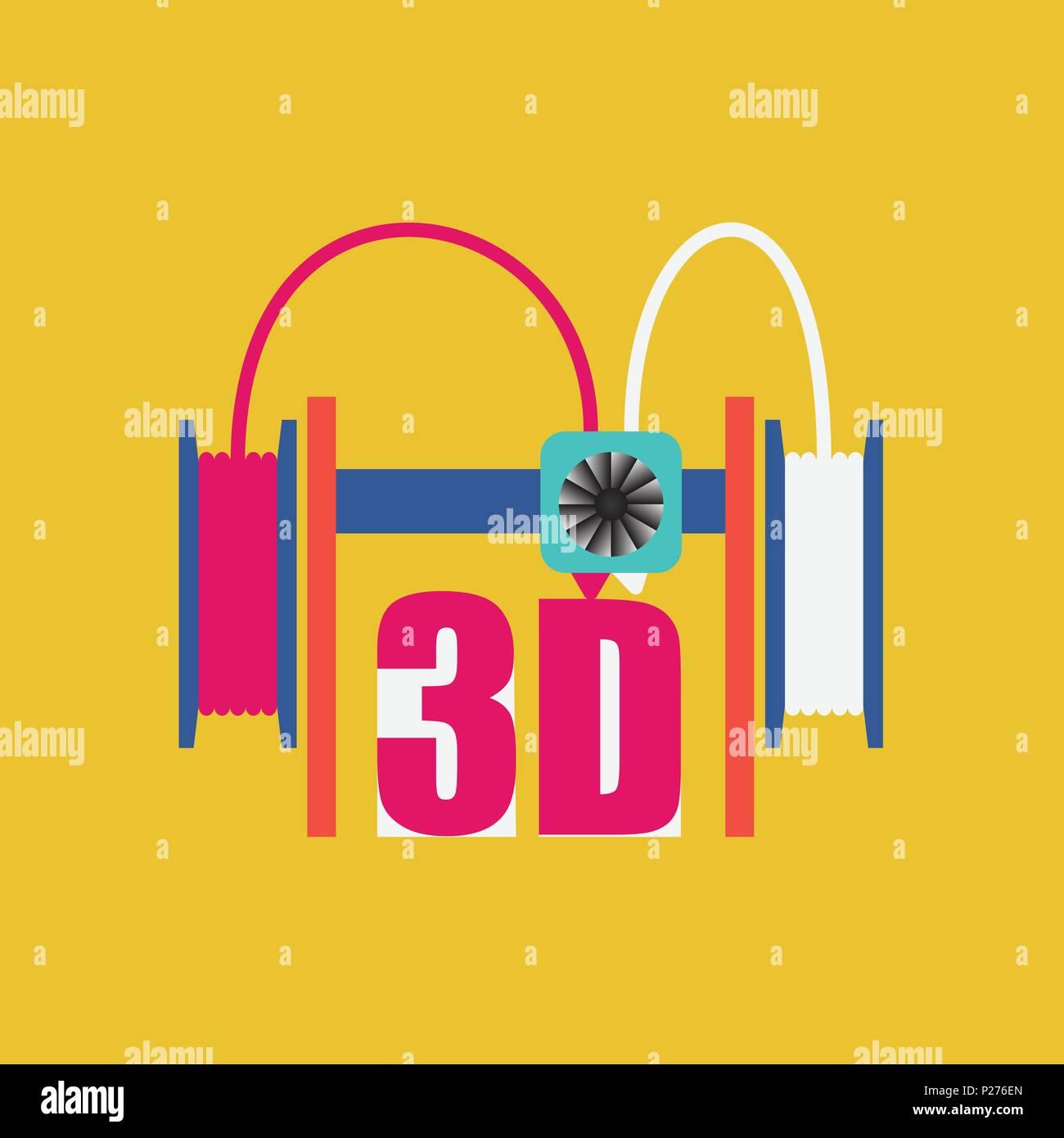 Dual extruder 3d printer. Vector illustration. Modern technology - Stock Vector