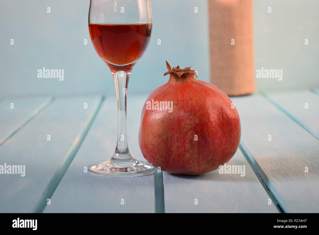 garnet and wineglass - Stock Image
