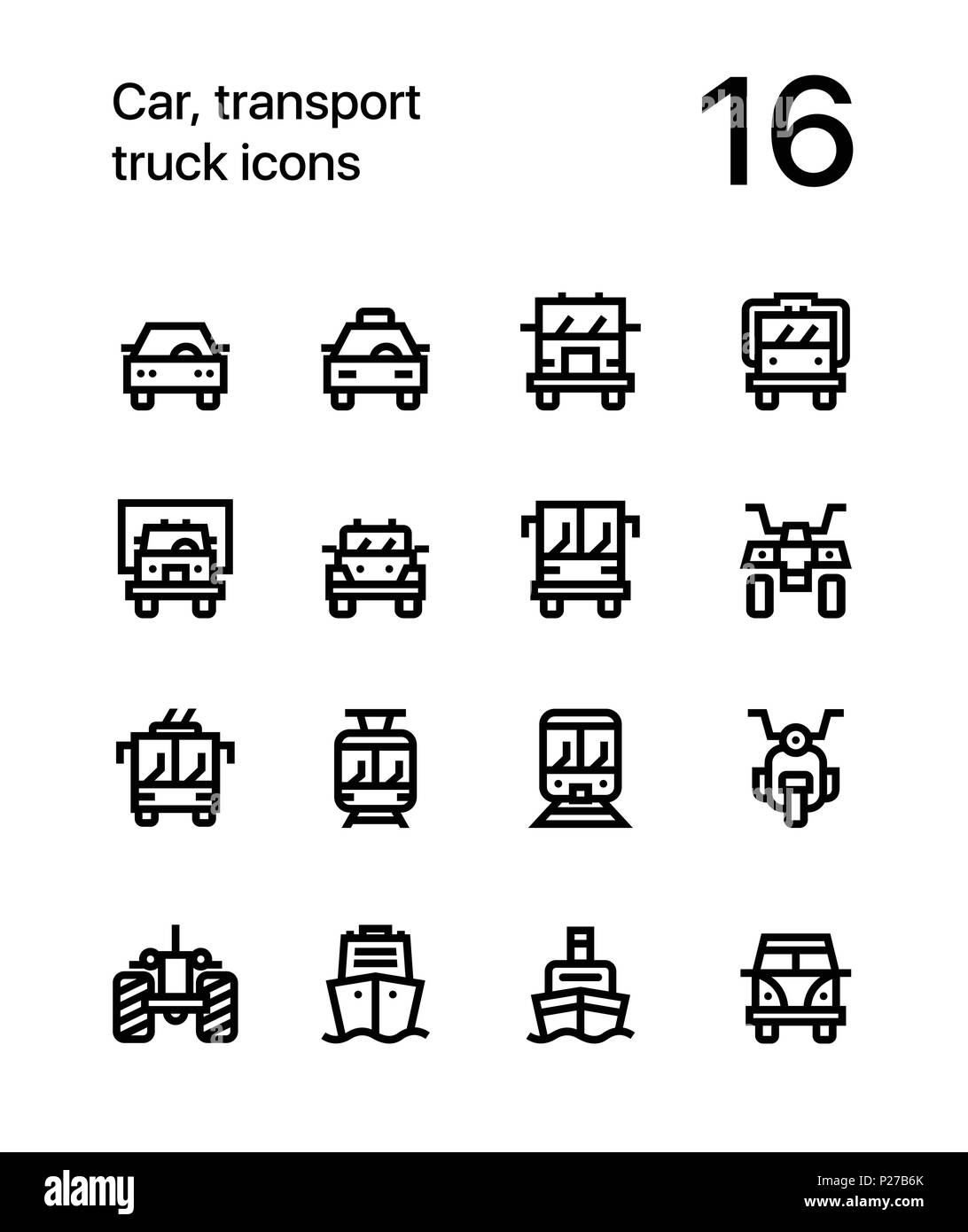 Car, transport, vehicle, truck, train vector flat line icons for web and mobile applications - Stock Image