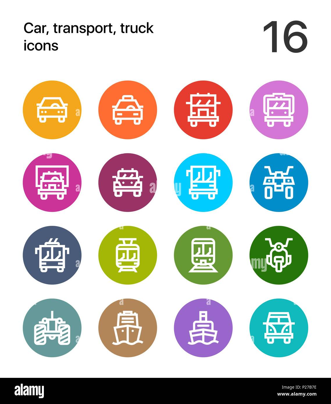 Colorful Car, transport, vehicle, truck, train vector flat line icons for web and mobile applications - Stock Image
