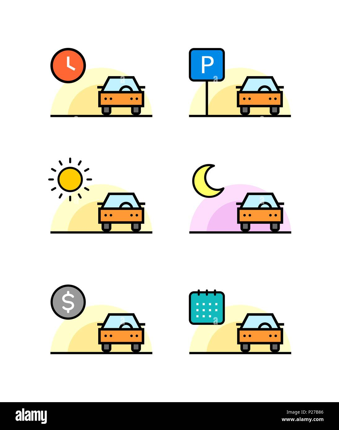 Colored Car rent, parking, sell outline simple vector icons set - Stock Image