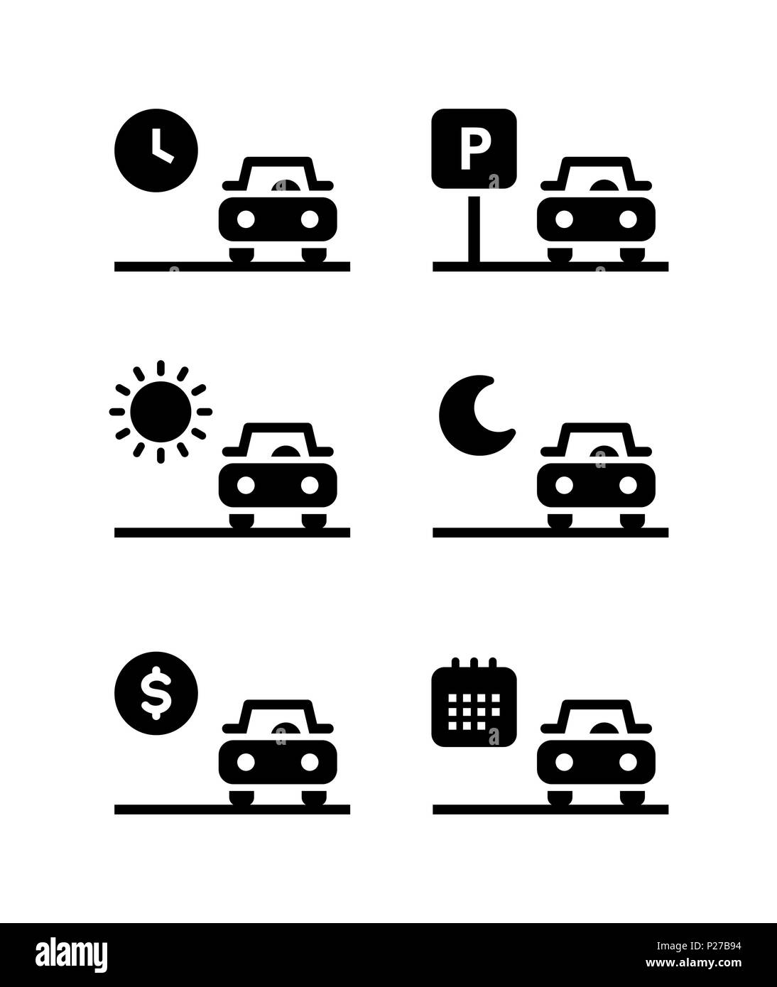 Car rent, parking, sell simple vector filled black icons set .Isolated on white background - Stock Image