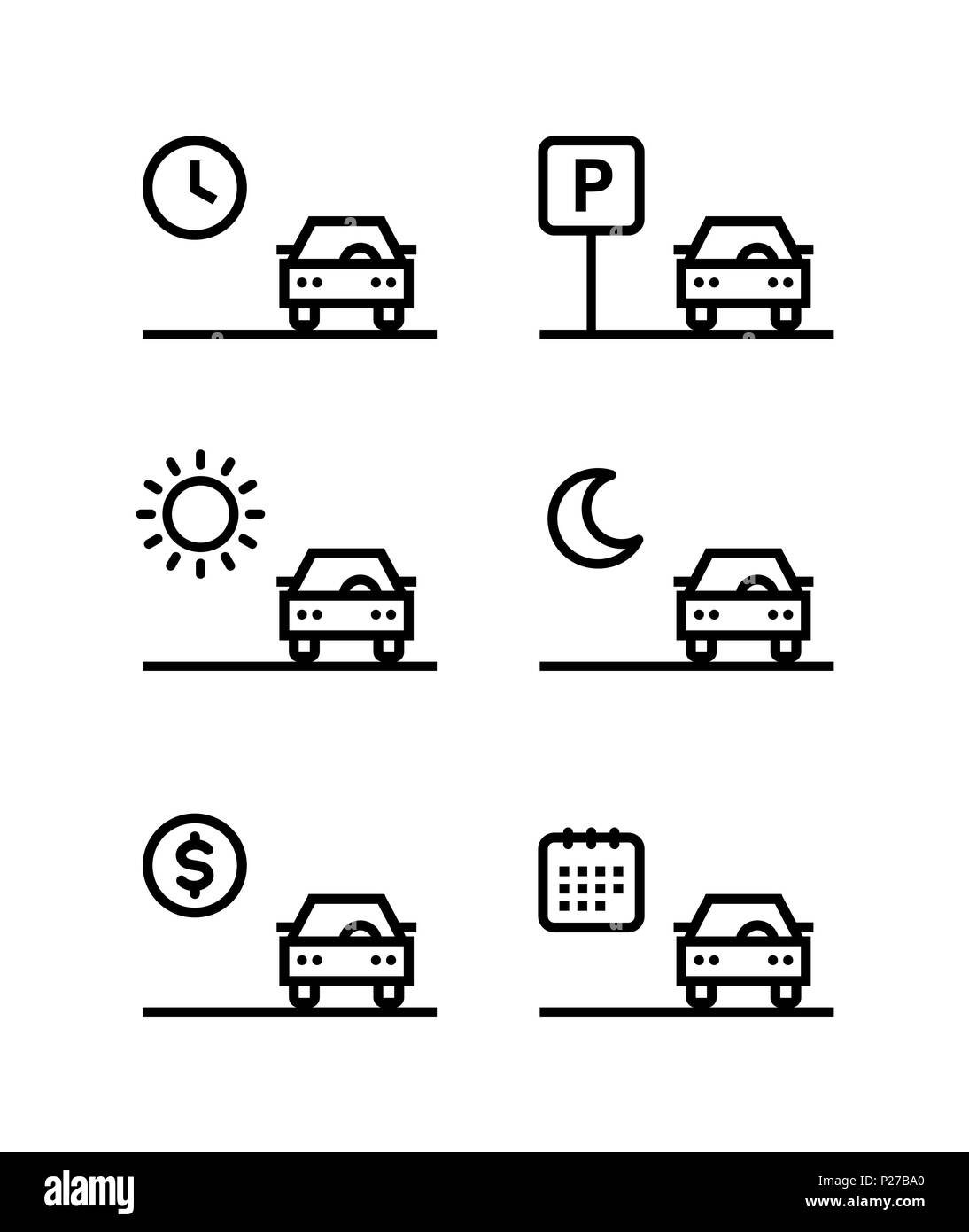 Car rent, parking, sell outline simple vector black icons on white background - Stock Image