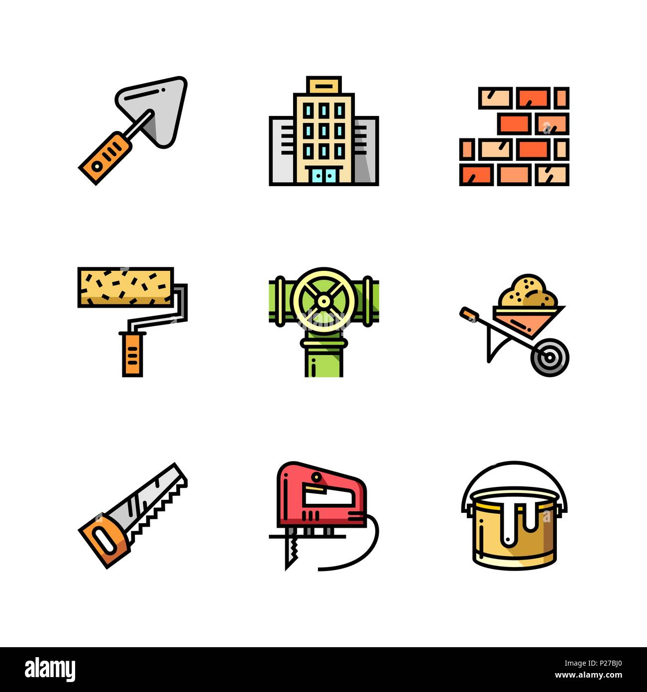Building, Construction And Home Repair Tools Simple Outline Colorful Icons  For Web And Mobile Design Set 1