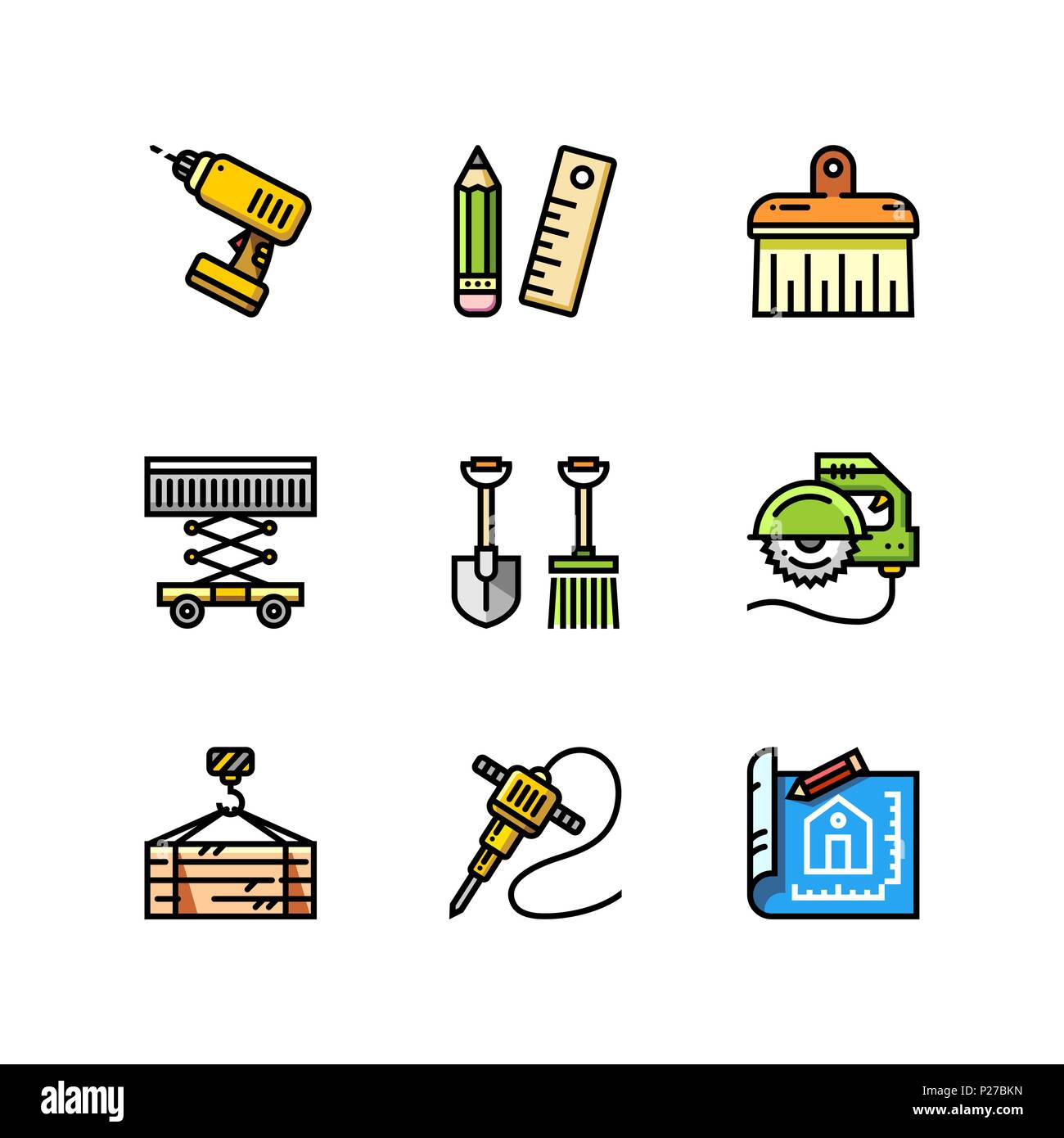 Building, Construction And Home Repair Tools Simple Outline Colorful Icons  For Web And Mobile Design Set 4