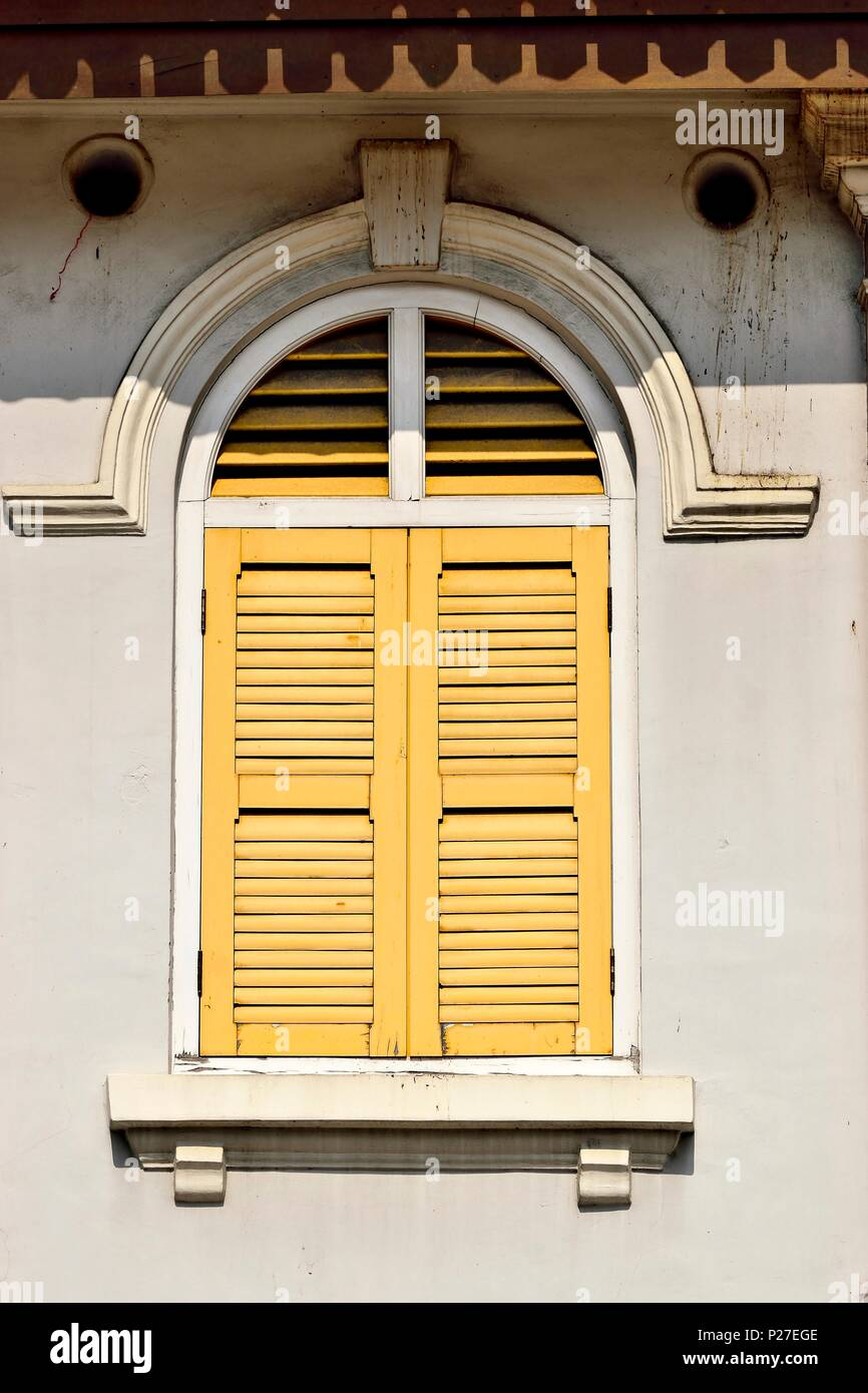 Vertical view of traditional vintage Singapore shop house with ...
