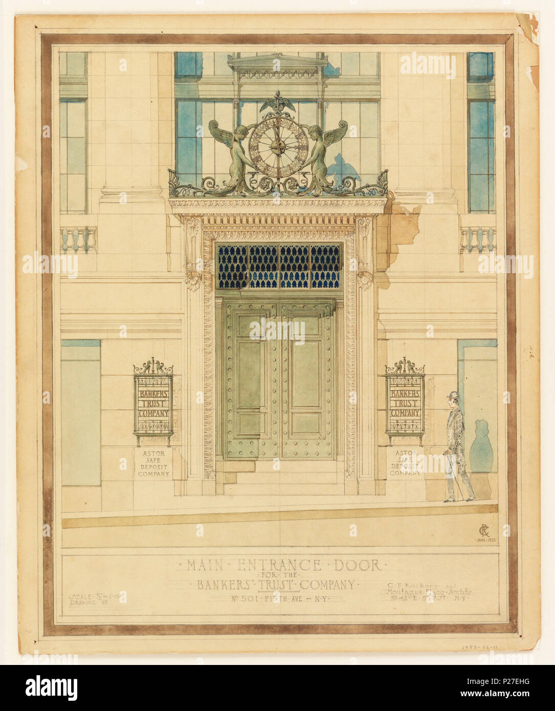 English Drawing Design For Main Entrance Door For The Bankers