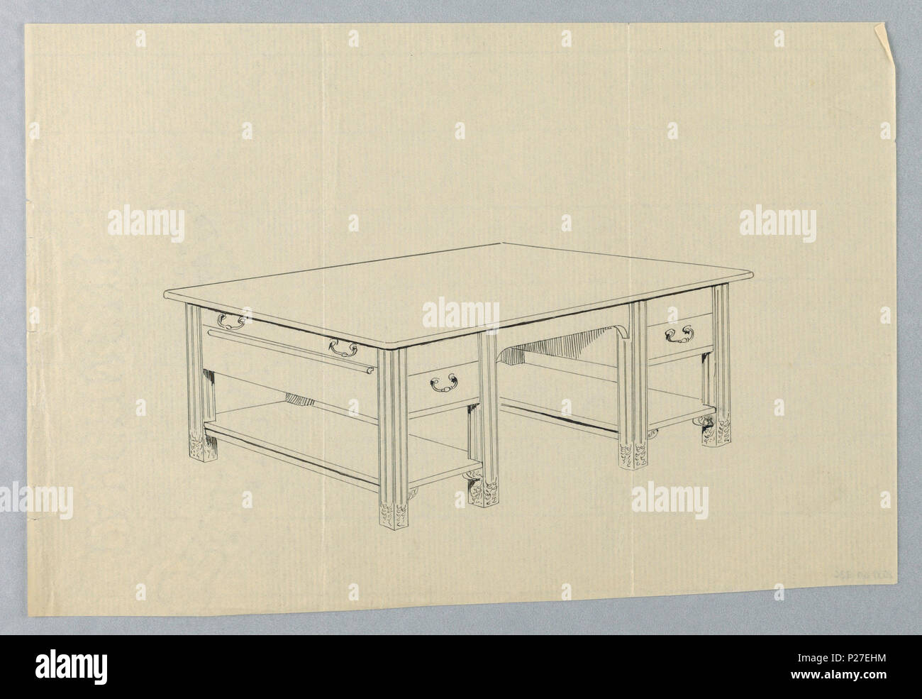 Massieve Side Table.102 Drawing Design For Massive Library Table With Square