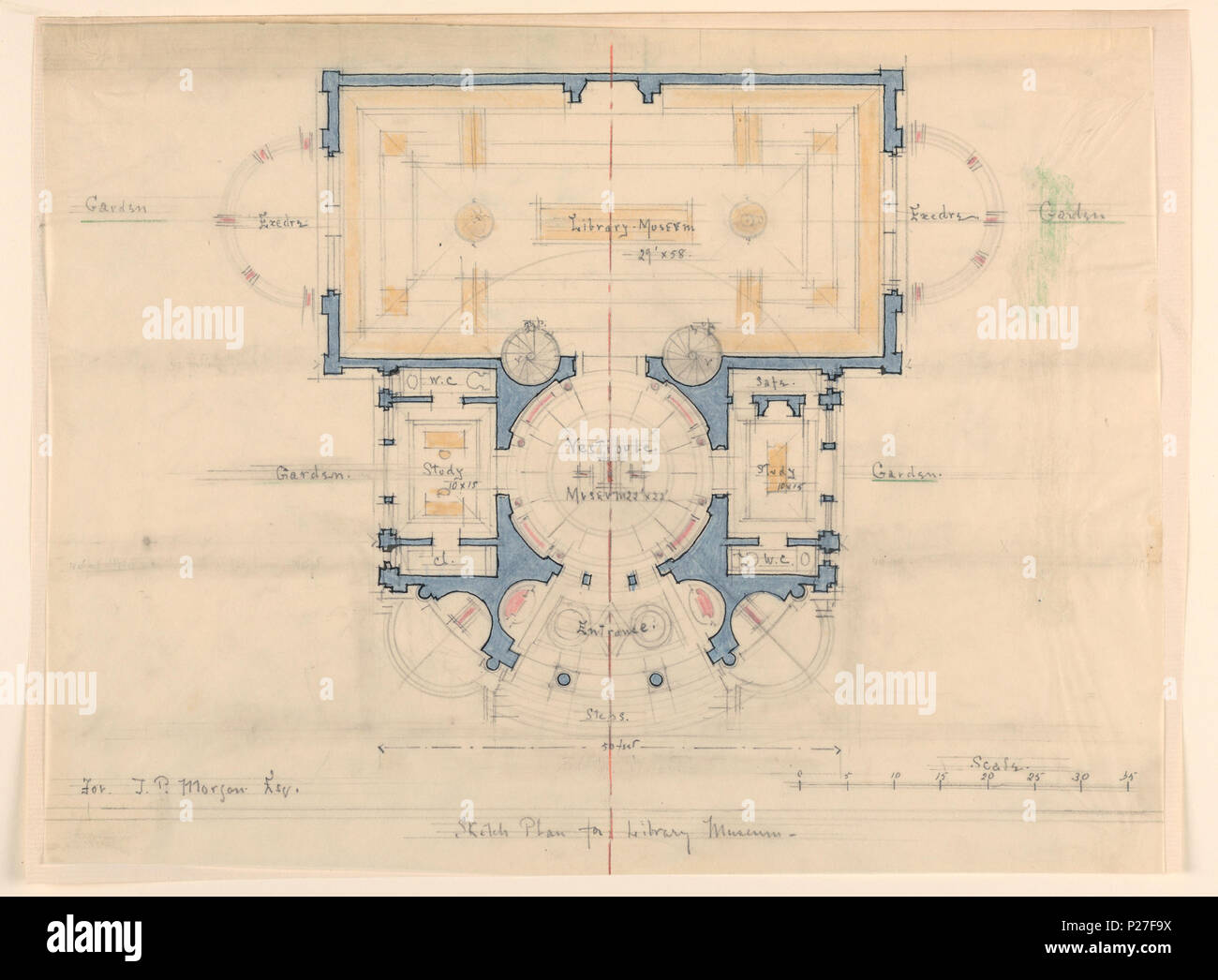 English Drawing Plan J P Morgan Library Museum New York Ca 1900 English Floor Plan Of The Library Museum At Top Flanked By Exedrae And Gardens Vestibule Center Flanked By Studies