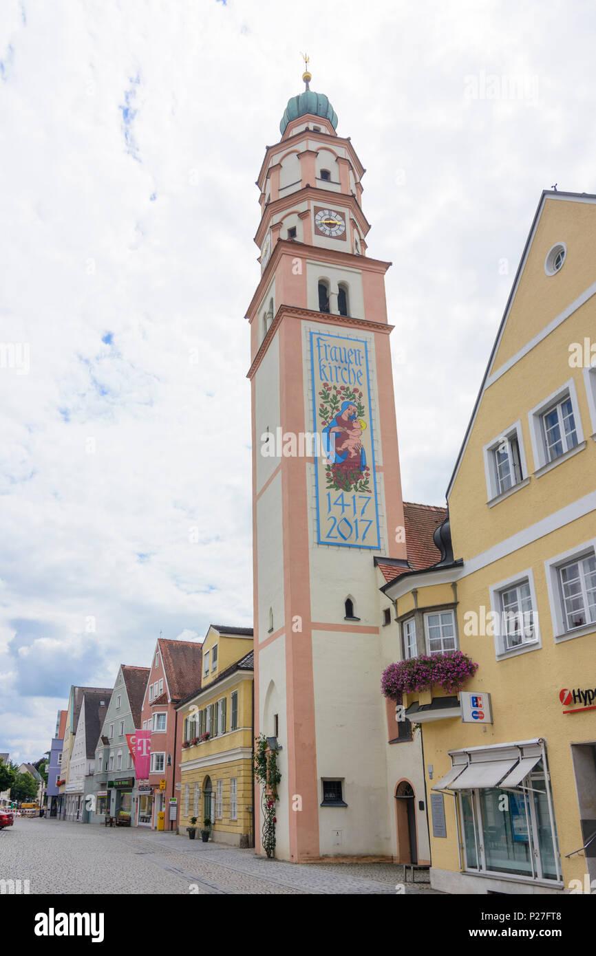 Schrobenhausen, Frauenkirche, Church of Our Lady, street Lenbachstraße, Swabia, Bavaria, Germany - Stock Image