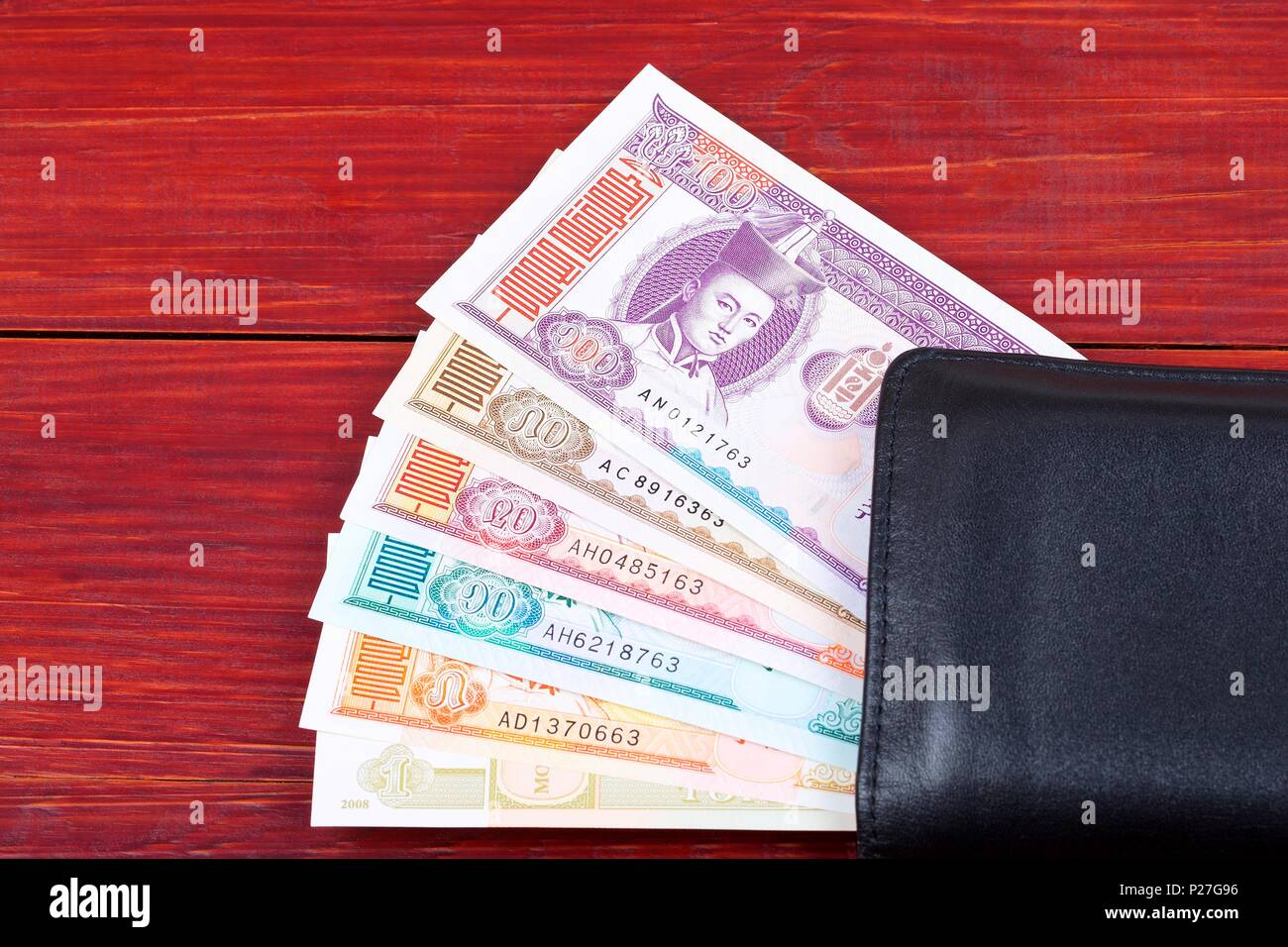 money from mongolia in the black wallet stock photo 207920194 alamy