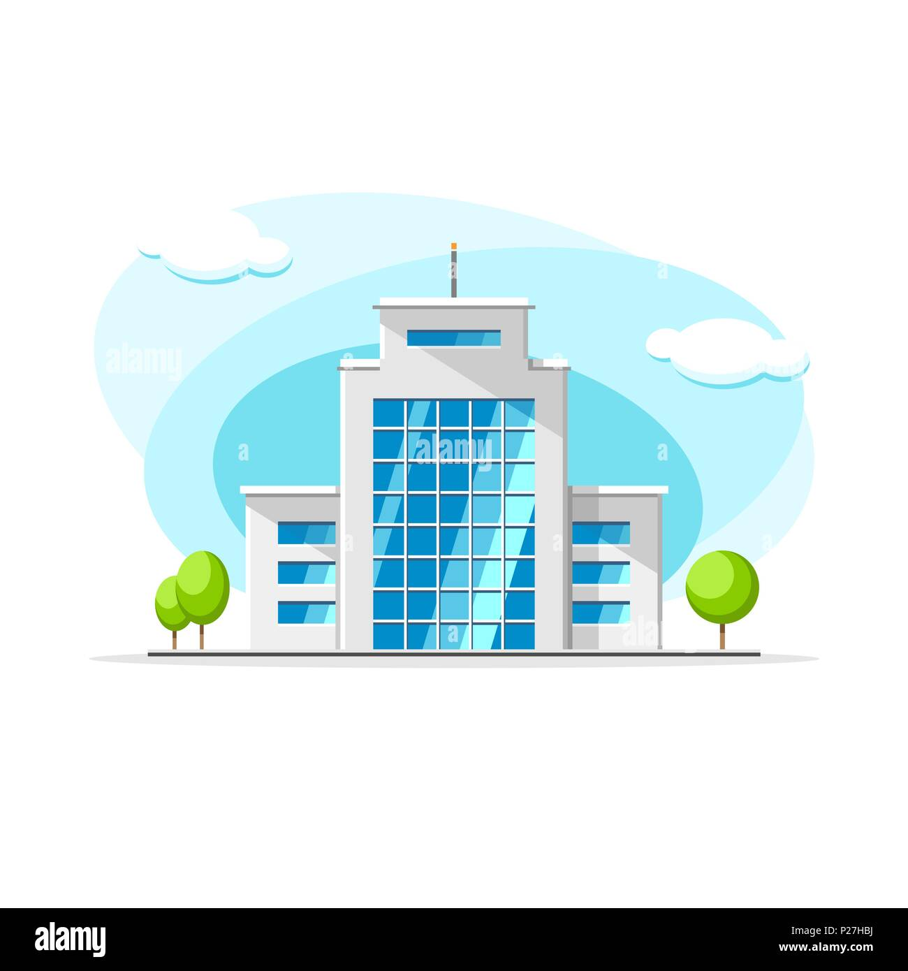 Flat Vector Modern Office Building From Glass Colorful Illustration. City  House, Apartment, Residential Object On Isolated White Background