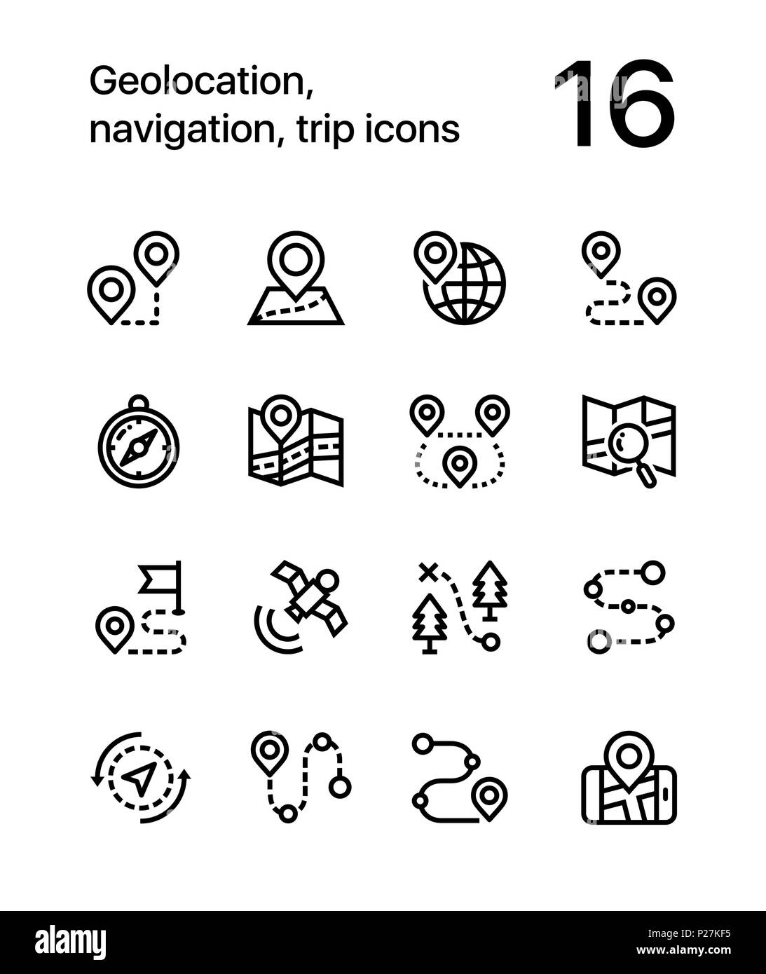 Geolocation, navigation, trip icons for web and mobile design pack 1 - Stock Image