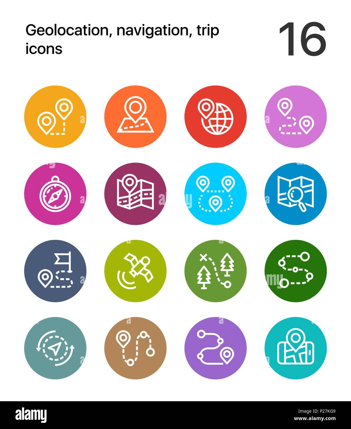 Colorful Geolocation, navigation, trip icons for web and mobile design pack 1 - Stock Vector