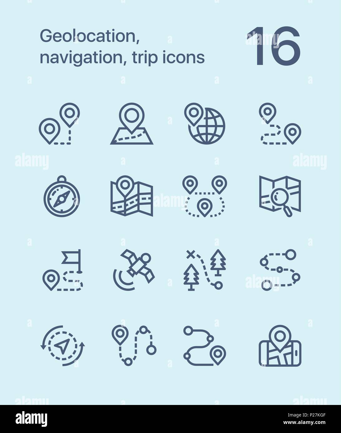 Outline Geolocation, navigation, trip icons for web and mobile design pack 1 - Stock Vector