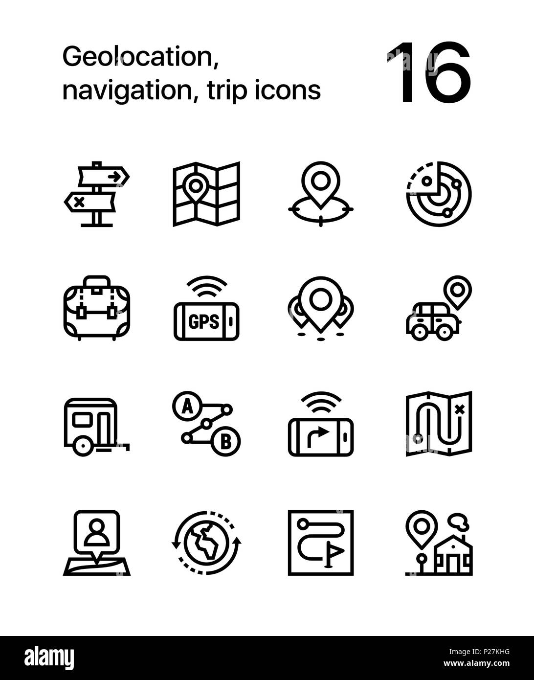 Geolocation, navigation, trip icons for web and mobile design pack 2 - Stock Vector