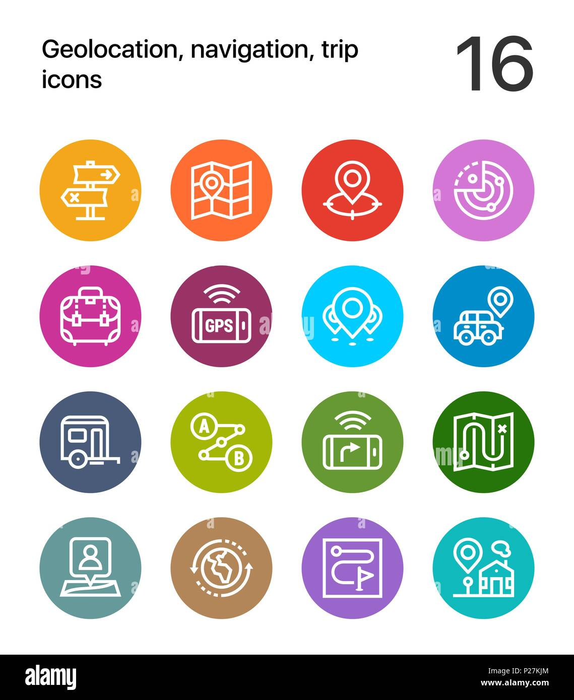 Colorful Geolocation, navigation, trip icons for web and mobile design pack 2 - Stock Image
