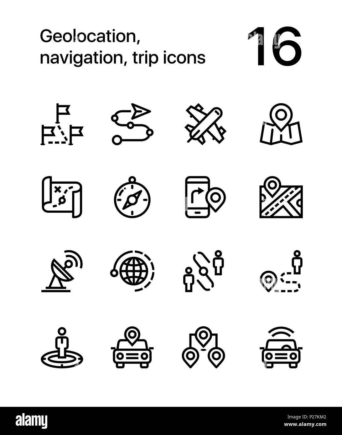 Geolocation, navigation, trip icons for web and mobile design pack 3 - Stock Image