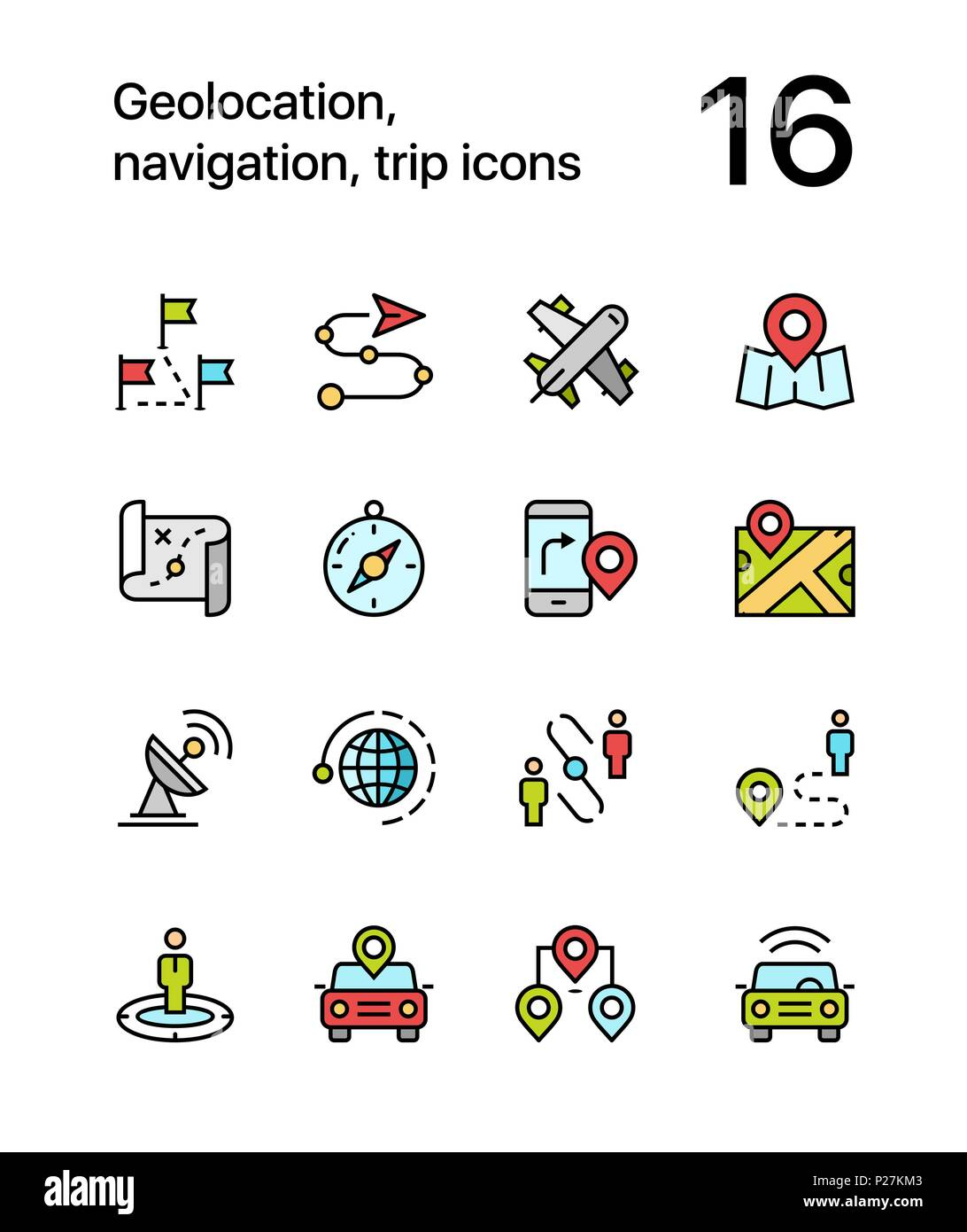Colored Geolocation, navigation, trip icons for web and mobile design pack 3 - Stock Vector