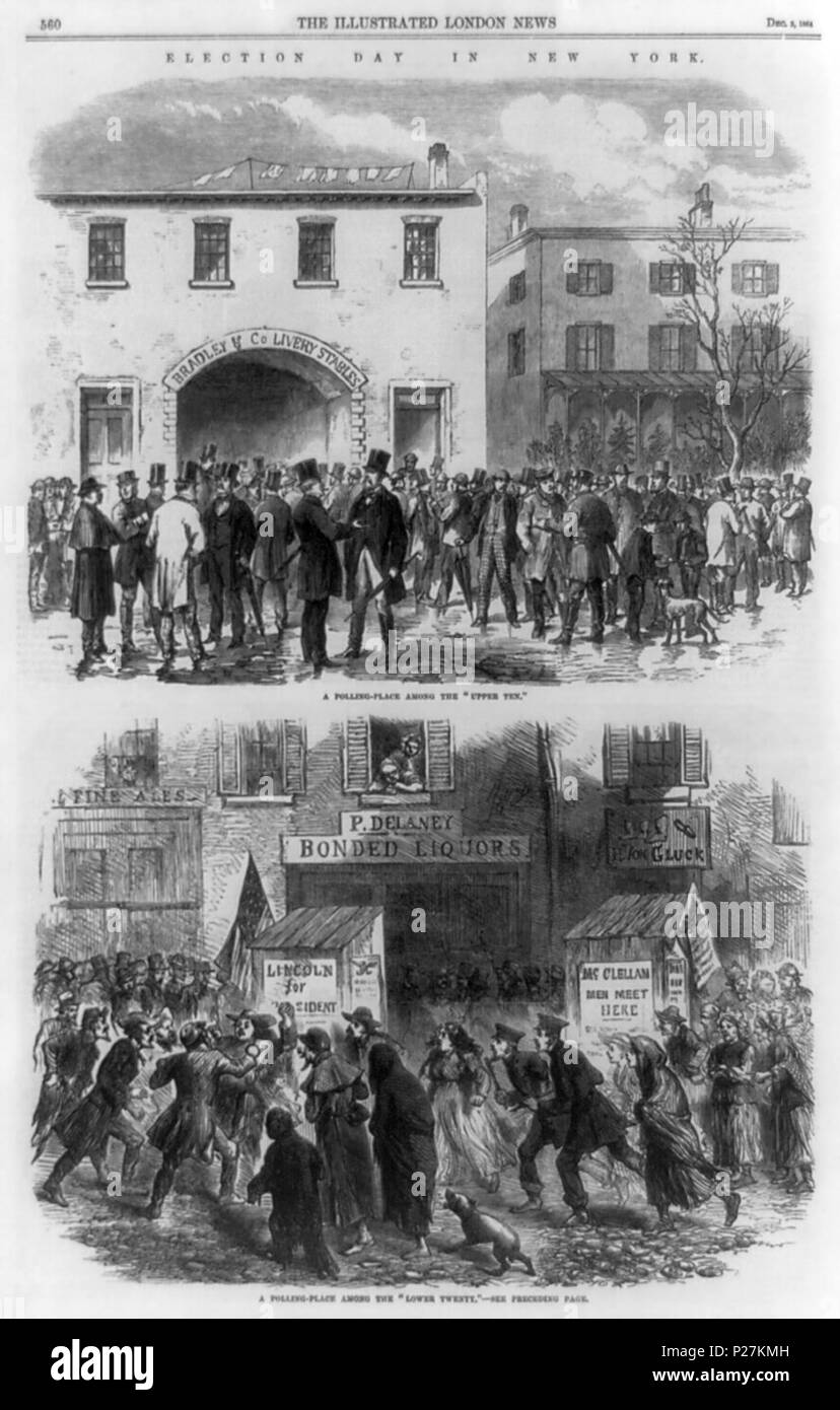 . 'Election day in New York' according to the Illustrated London News, Dec. 3, 1864. Shows the presidential election of 1864 (Lincoln vs. McClellan) in two neighborhoods of New York City: one (wealthy) among the 'upper ten', the other (poorer) among the 'lower twenty'. In the upper-class district, men in top-hats are standing in groups outside 'Bradley & Co Livery Stables'. In the lower-class district, people (including women, absent in the upper-class scene) rush around outside 'P. Delaney - Bonded Liquors' and H. von Gluck's cobbler shop. Title: Election day in New York Date Created/Publishe Stock Photo