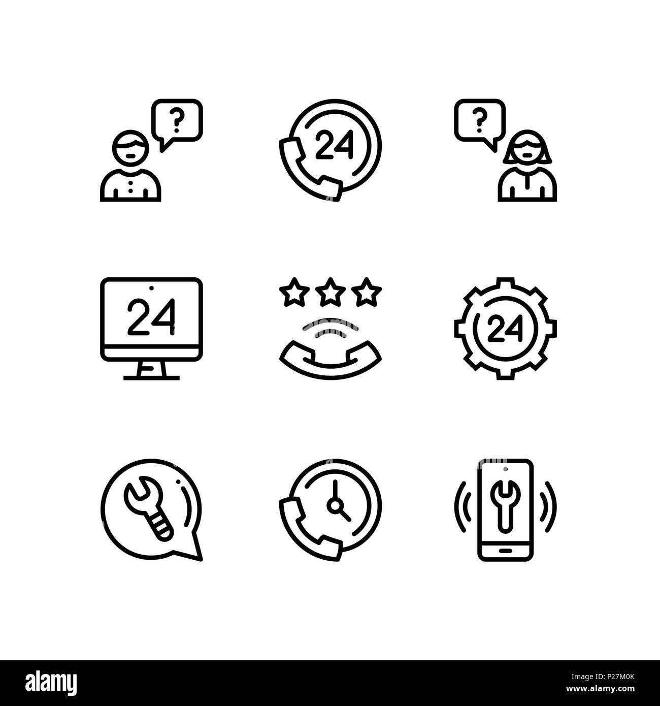 Support, service, help simple line icons for web and mobile design pack 3 - Stock Image