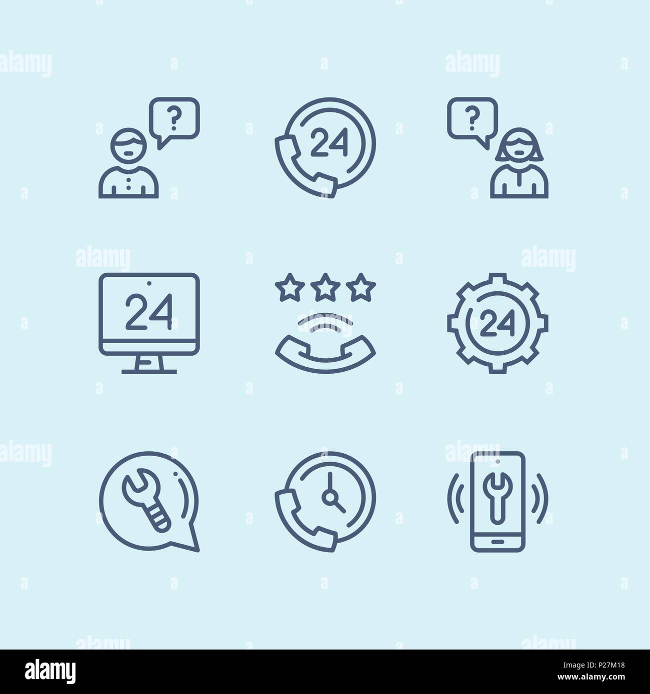 Outline Support, service, help simple line icons for web and mobile design pack 3 - Stock Vector