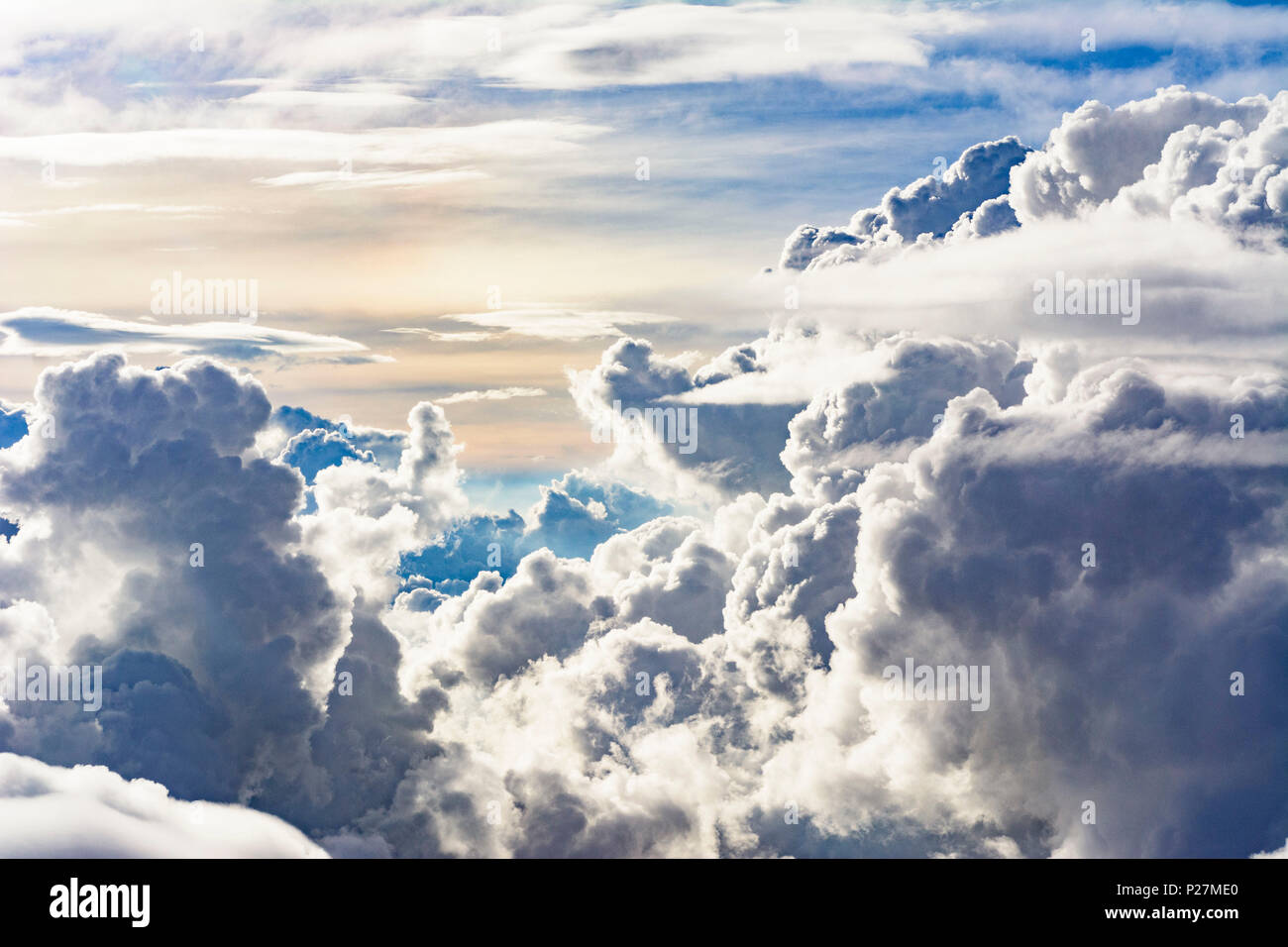 tropical clouds, cumulonimbus cloud, from aircraft, - Stock Image