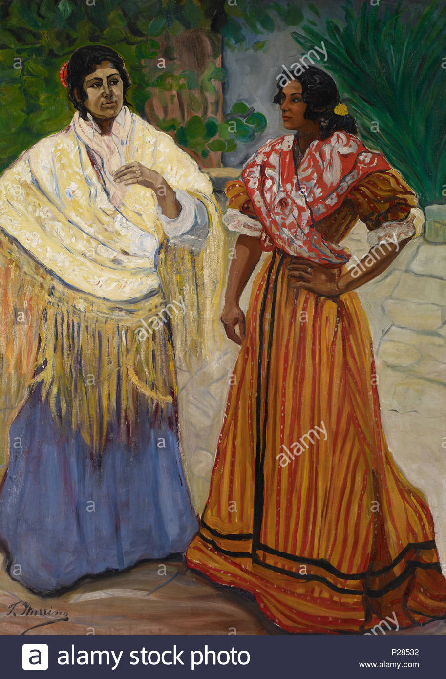 . English: Two Gypsies. Español: Dos gitanas, una con mantón de Manila amarillo oro y otra con una pañoleta (esclavina) estampada en bermellones. Oil on canvas, 180 x 129 cm, Inv. CTB.1996.51   Carmen Thyssen Museum      Native name Museo Carmen Thyssen Málaga  Location Málaga, (Spain)  Coordinates 36° 43′ 17″ N, 4° 25′ 22″ W   Established 2011  Web page www.carmenthyssenmalaga.org  Authority control  : Q5043601 VIAF: 230371067 LCCN: no2012034269 GND: 16335044-9 SUDOC: 163469776 BNF: 16968889h WorldCat    . between 1901 and 1903. Francisco Iturrino (1864–1928) 125 Francisco Iturrino Two Gypsie Stock Photo