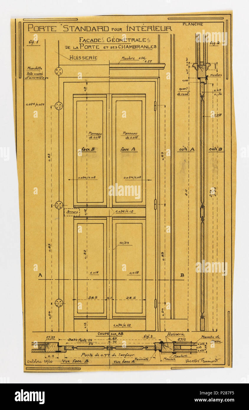 . English Drawing Design for a Mass-Operational House Designed by Hector Guimard Interior Door Construction October 1920 . & English: Drawing Design for a Mass-Operational House Designed by ...