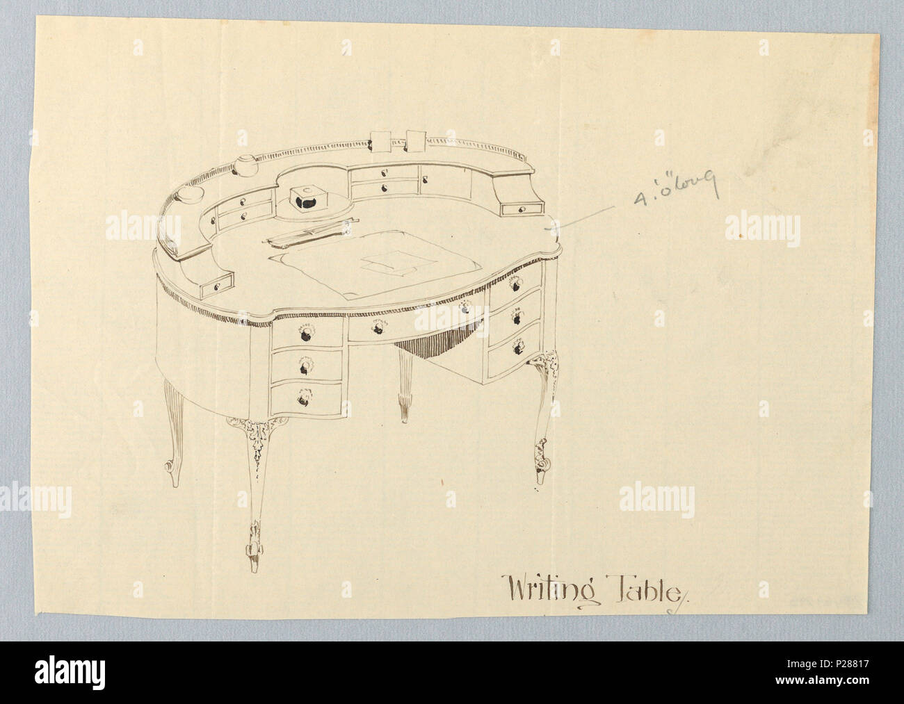 102 Drawing, Design for Oval Writing Table with Blotter and Letter Opener Atop, 1900–05 (CH 18681415) - Stock Image