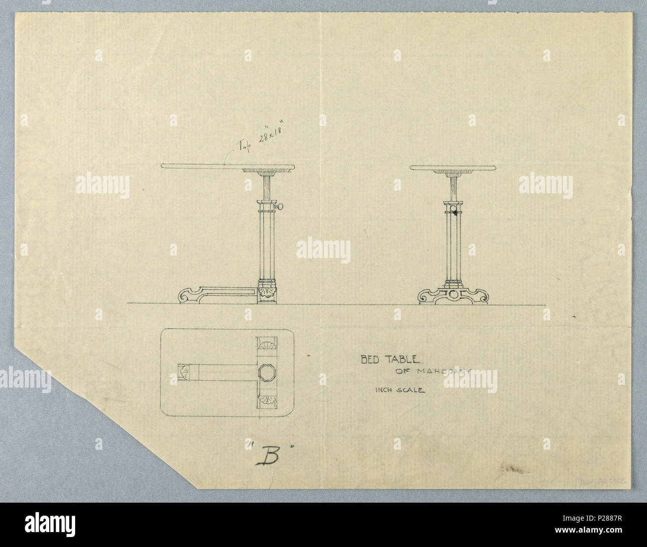103 Drawing Design For Small Bed Table B Of Mahogany In Three