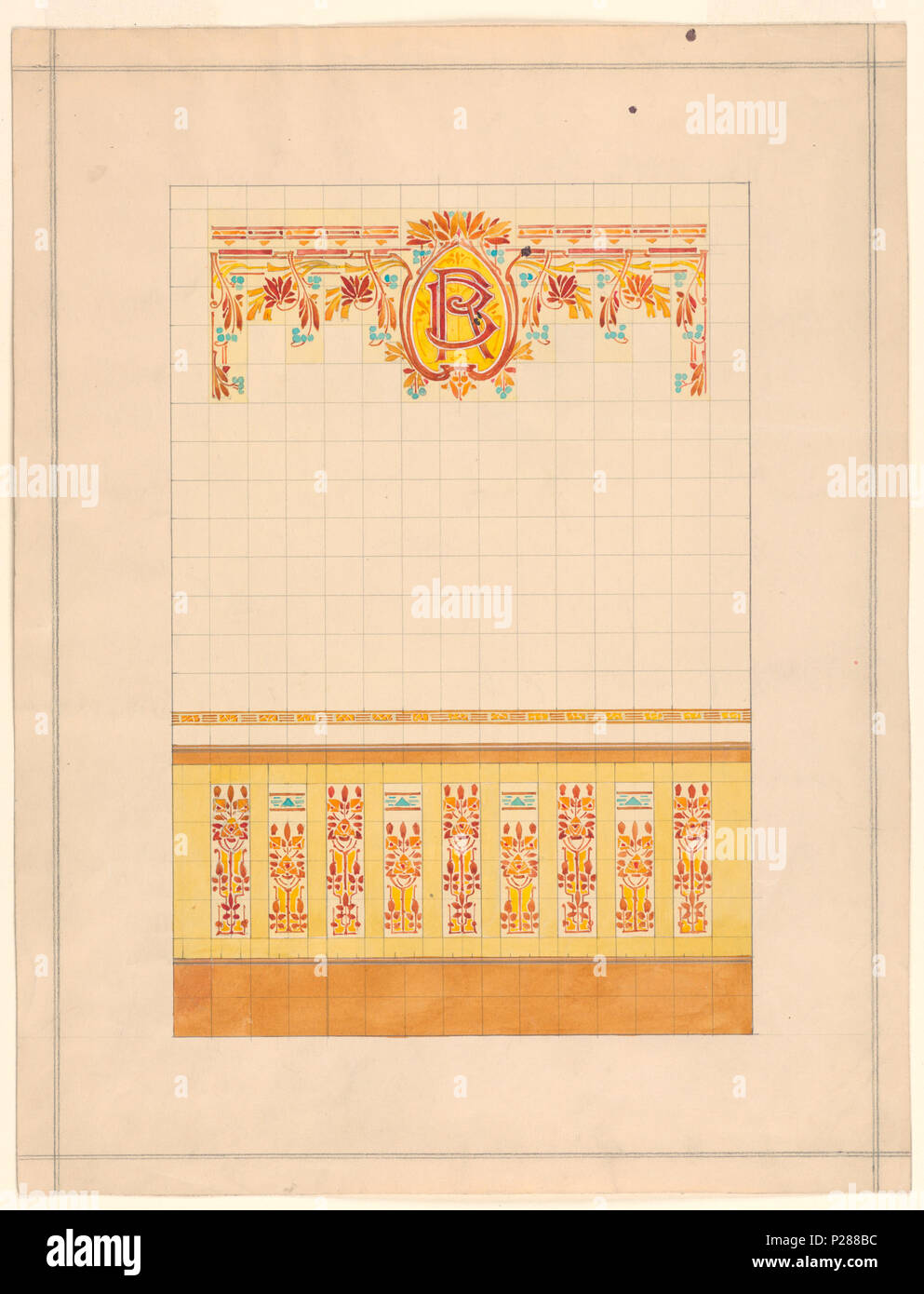 English: Drawing, Design for Wall Decorated with Tiles, 1911 ...